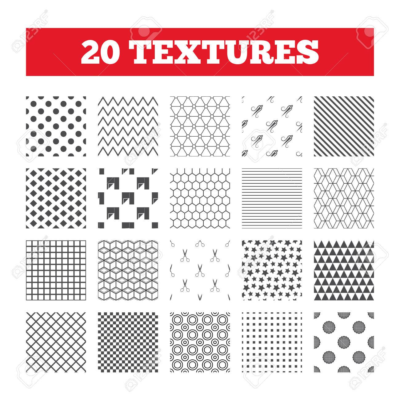 Seamless Patterns Endless Textures Textile Cloth Piece Icon