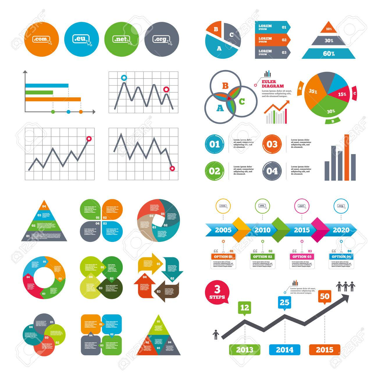 Business Data Pie Charts Graphs Top Level Internet Domain Icons