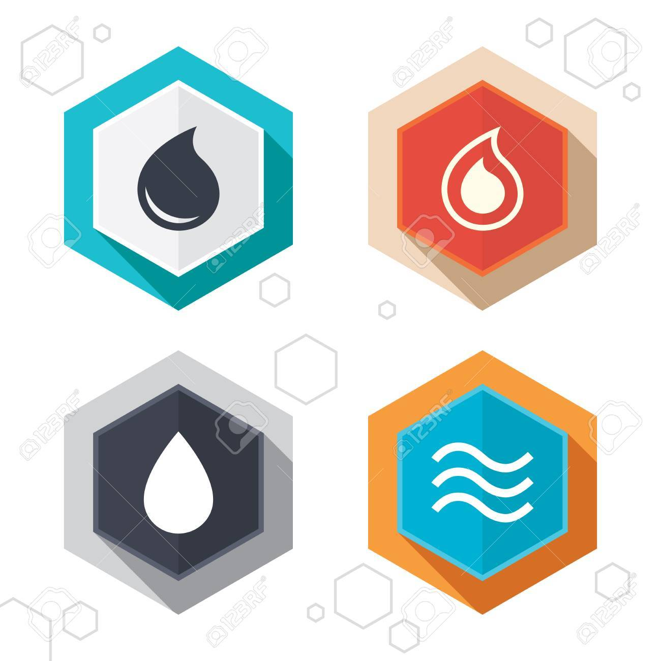 Hexagon buttons water drop icons tear or oil drop symbols tear or oil drop symbols labels with shadow buycottarizona