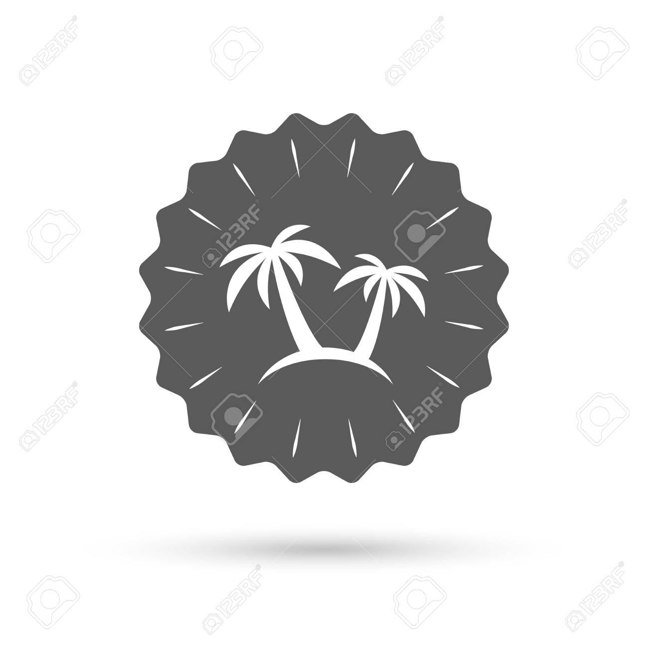 Vintage Emblem Medal Palm Tree Sign Icon Travel Trip Symbol