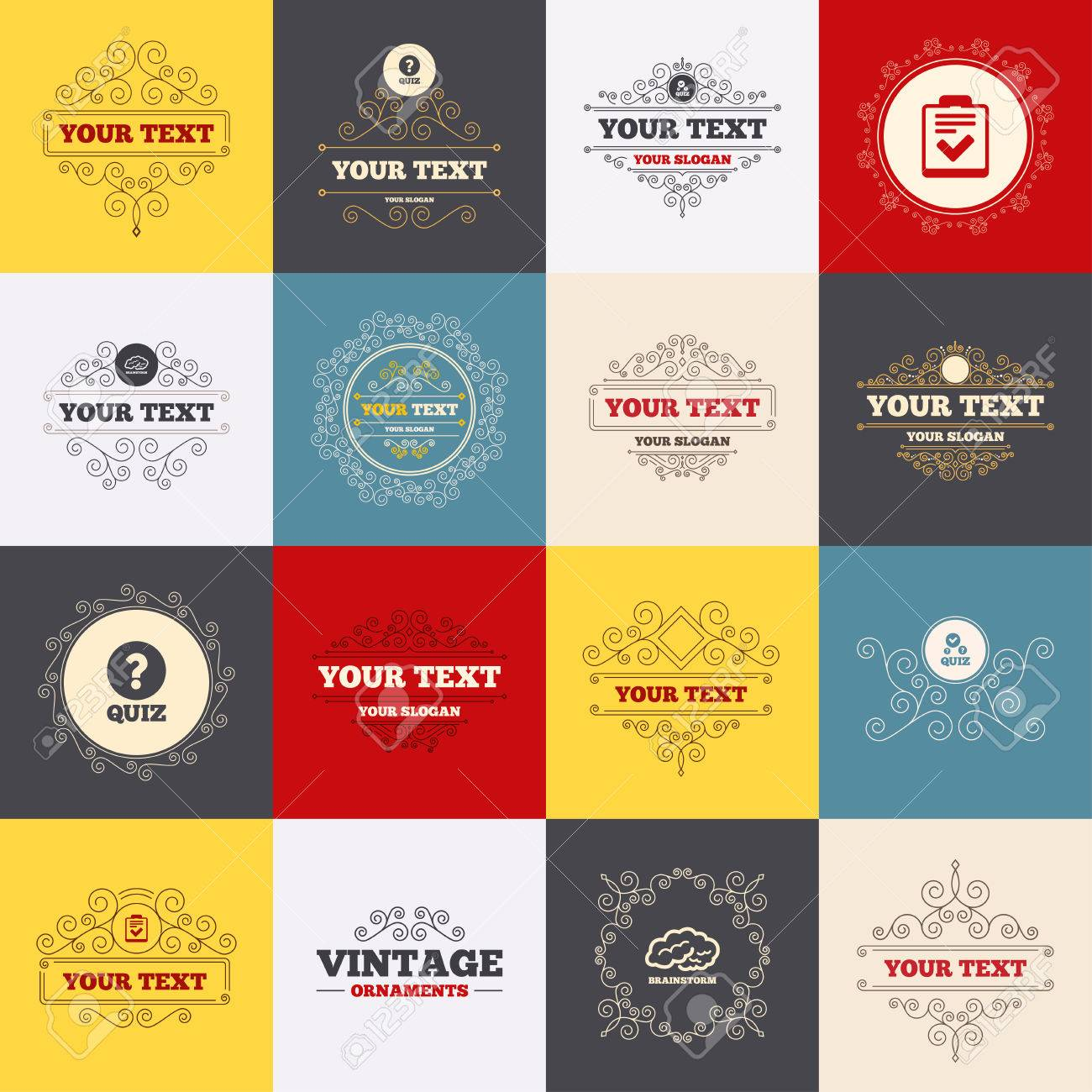 Vintage Frames, Labels. Quiz Icons. Human Brain Think. Checklist ...