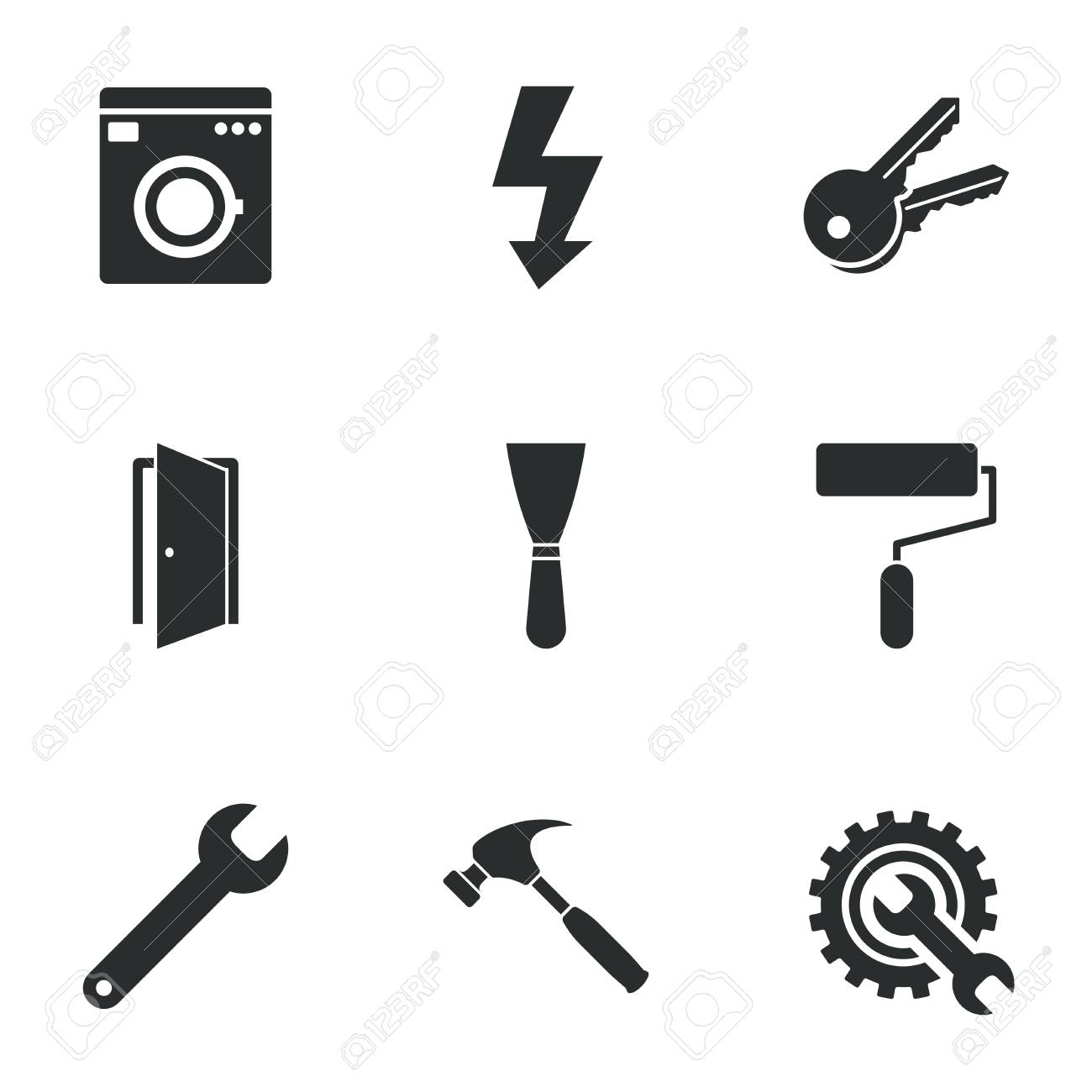 Repair, Construction Icons. Electricity, Keys And Hammer Signs ...