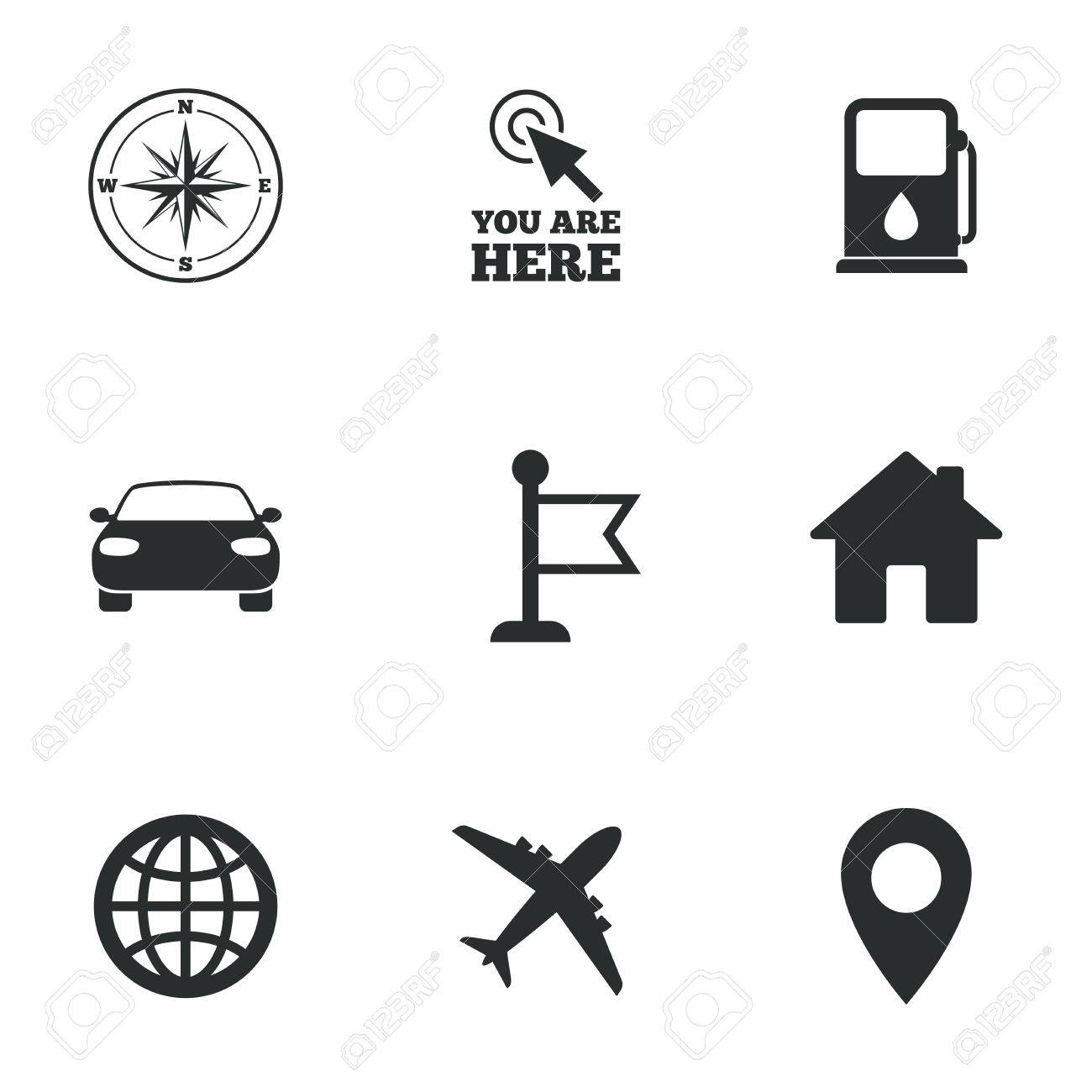 Navigation Gps Icons Windrose Compass And Map Pointer Signs - Car signs and symbols