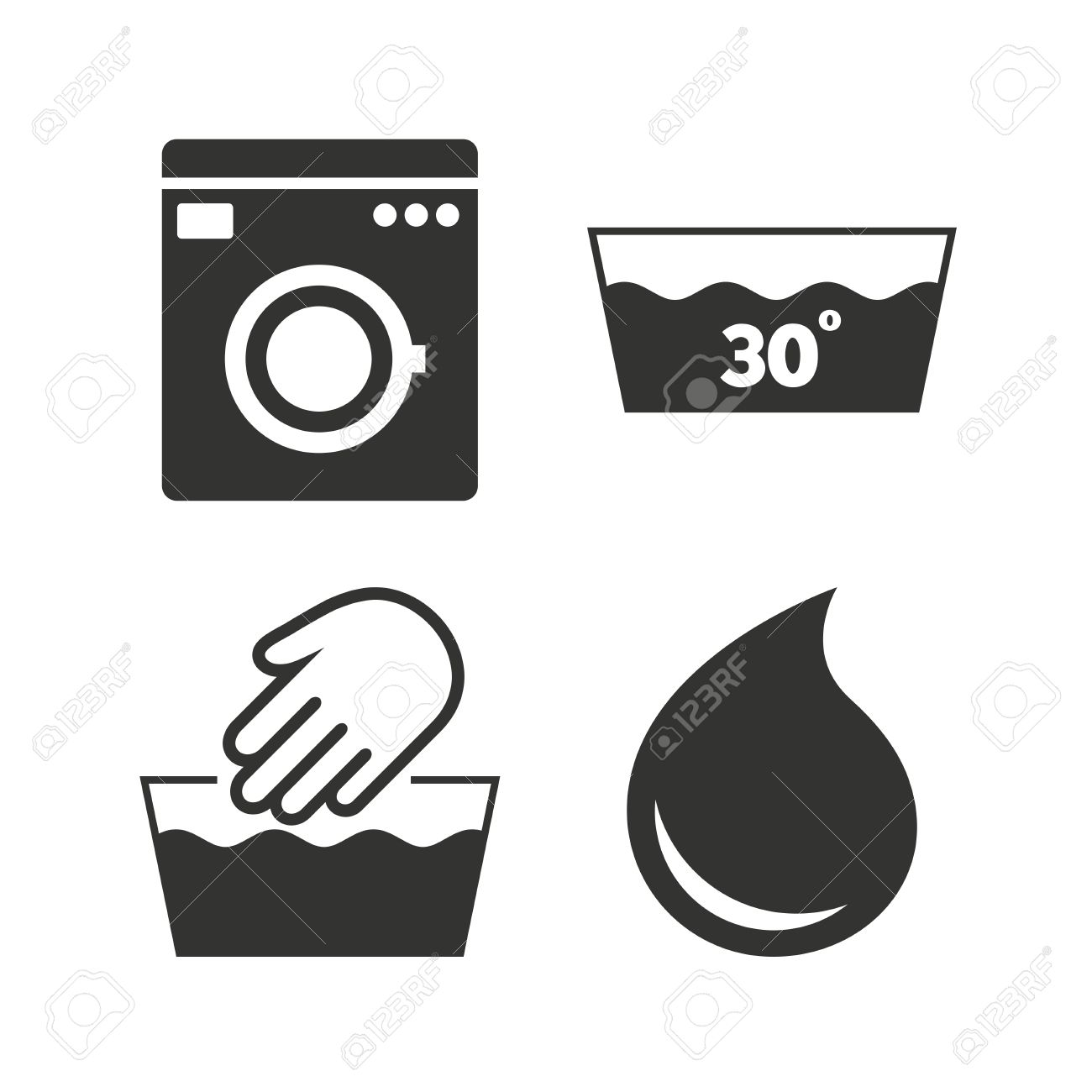 Hand Wash Icon Machine Washable At 30 Degrees Symbols Laundry