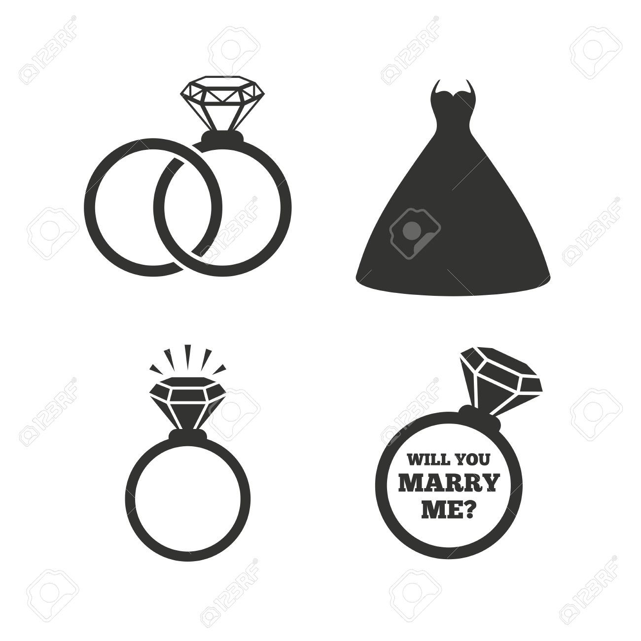 Vector Wedding Dress Icon Bride And Groom Rings Symbol Or Engagement Day Ring Shine With Diamond Sign Will You Marry Me Flat Icons On White: Icon Wedding Ring Bride At Reisefeber.org
