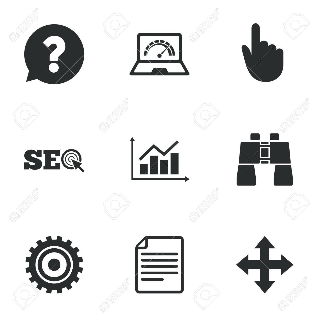 Internet seo icons analysis chart page and computer signs analysis chart page and computer signs question speech bubble biocorpaavc