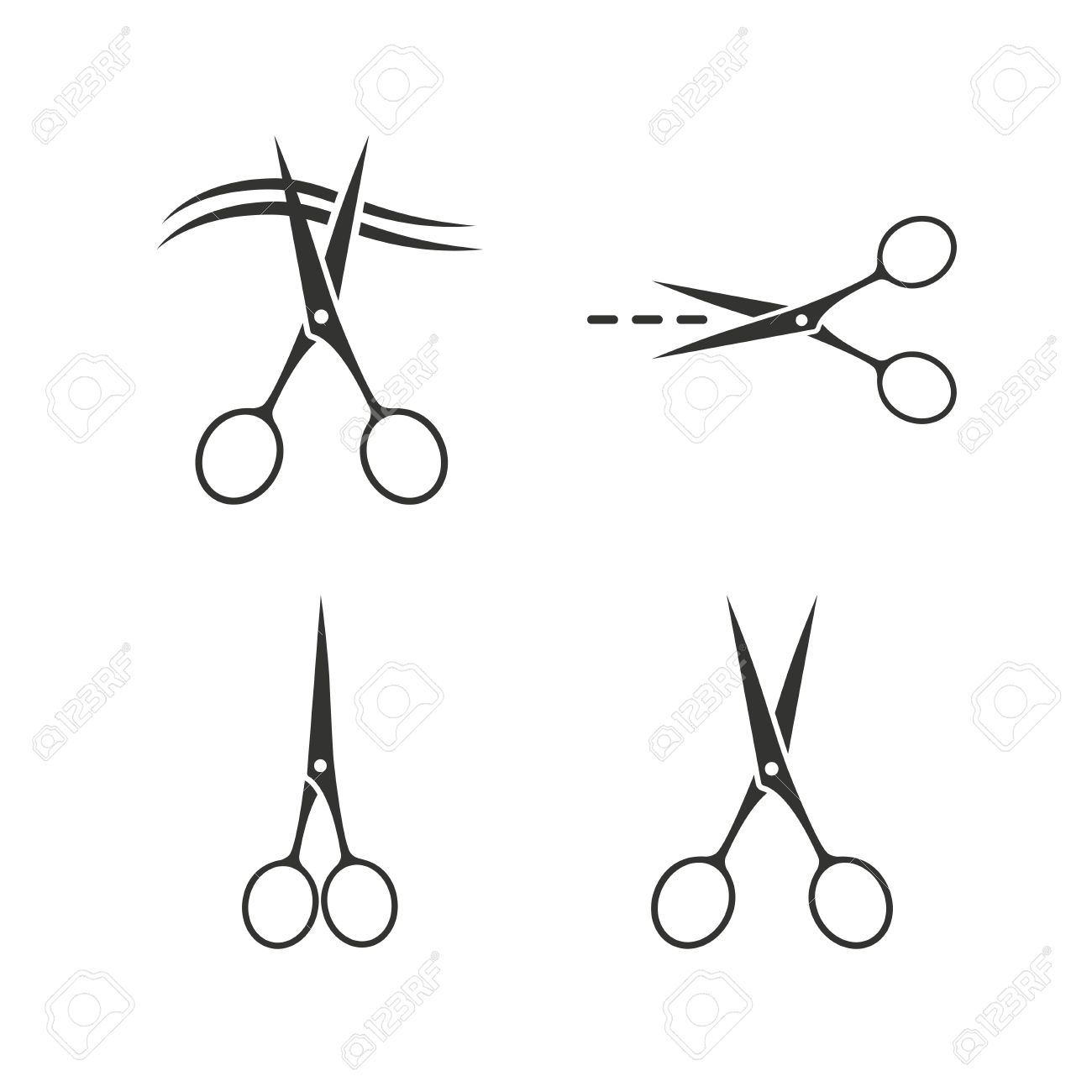 Scissors icons hairdresser or barbershop symbol scissors cut scissors icons hairdresser or barbershop symbol scissors cut hair cut dash dotted line biocorpaavc