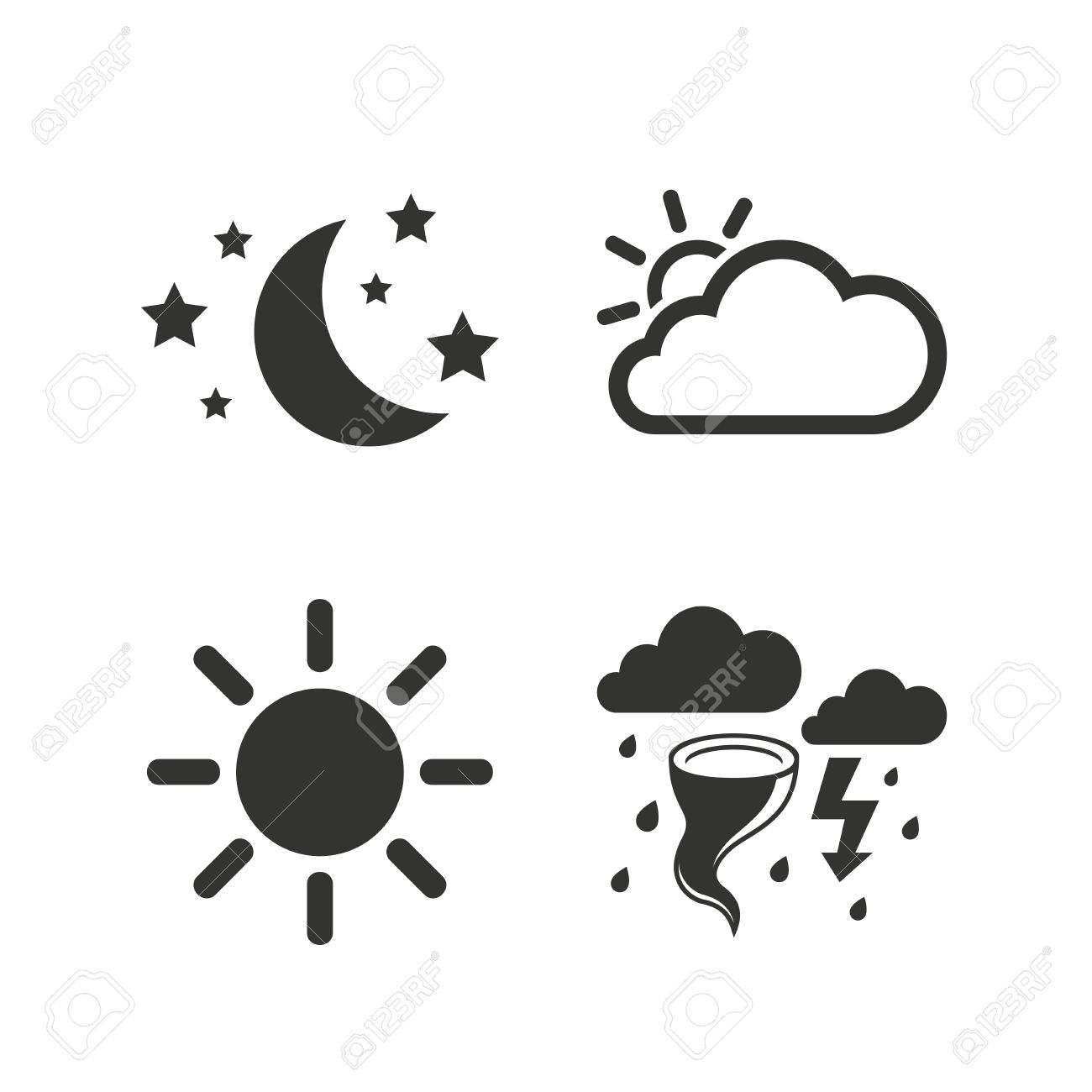Weather Icons Moon And Stars Night Cloud And Sun Signs Storm