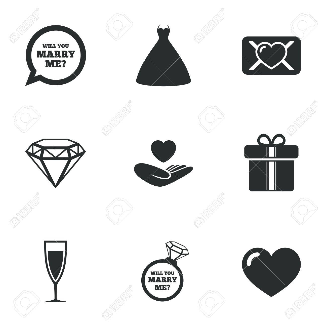 Hochzeit Verlobung Symbole Liebe Eid Brief Geschenk Box Und