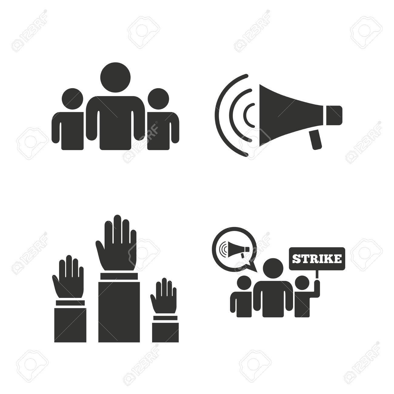 Streik Gruppe Von Menschen Symbol. Megafon Lautsprecher-Zeichen ...