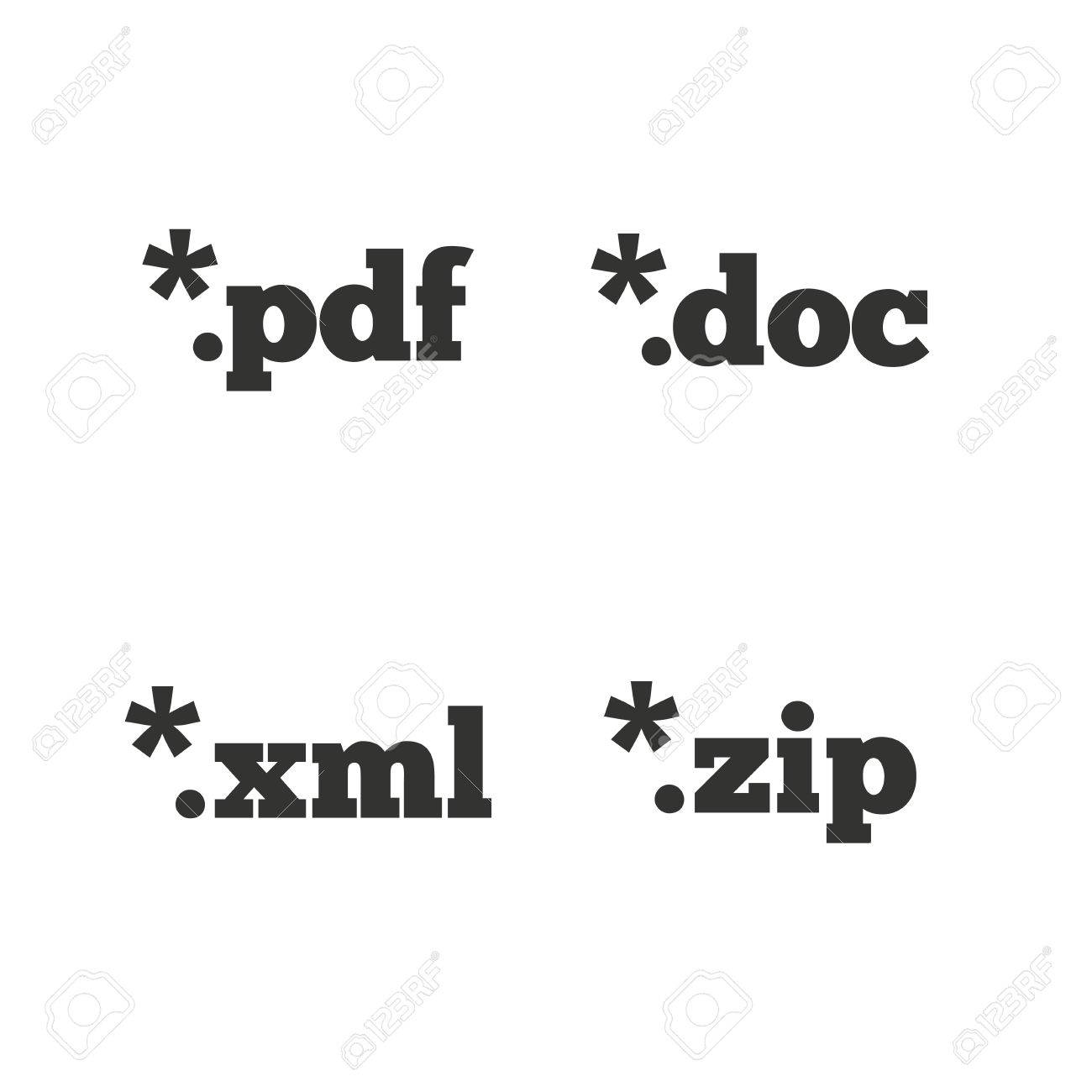 Document Icons File Extensions Symbols Pdf Zip Zipped Xml