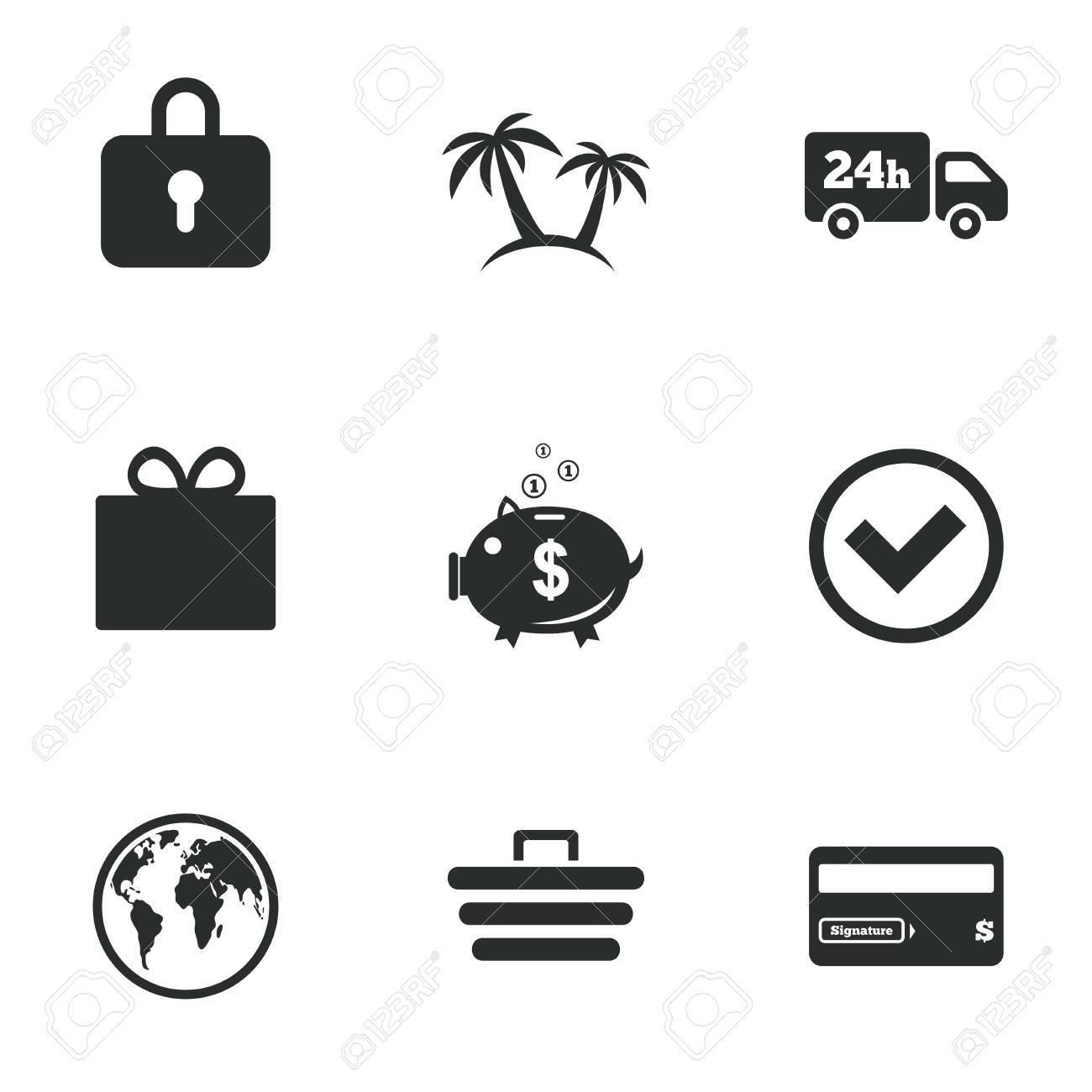 Carte Cado E Commerce.Achat En Ligne E Commerce Et Affaires Icones Carte De Credit Boite Cadeau Et Des Signes De Protection Tirelire Livraison Et Tiques Symboles