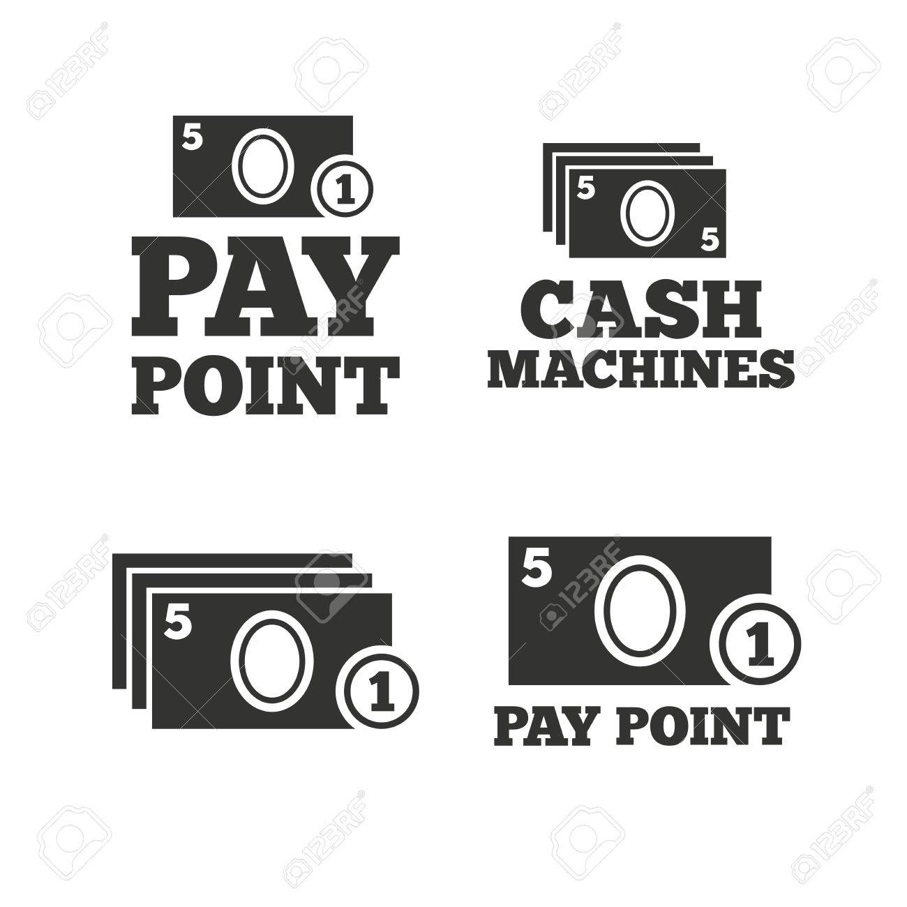 Cash and coin icons  Cash machines or ATM signs  Pay point or