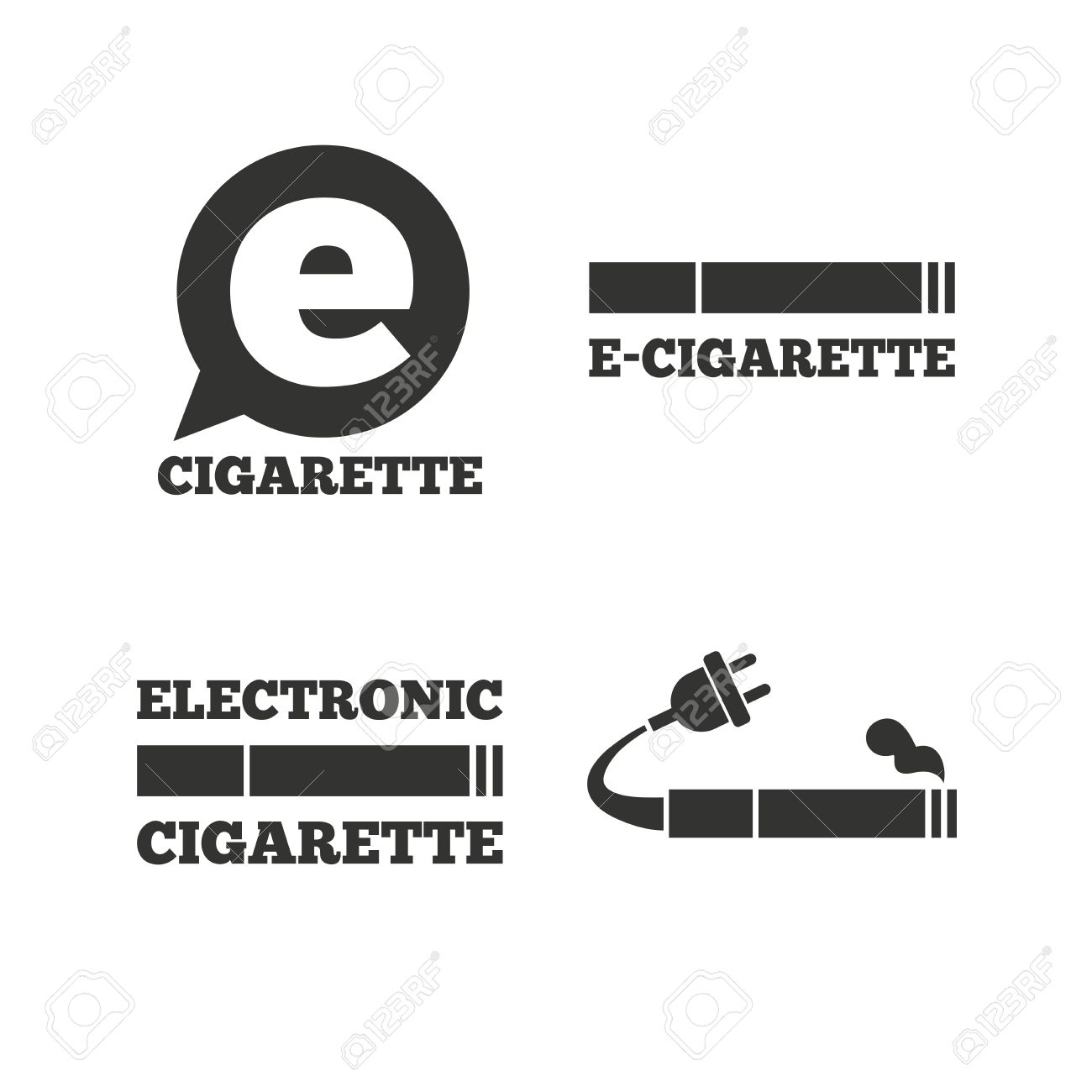 E cigarette with plug icons electronic smoking symbols speech electronic smoking symbols speech bubble sign flat buycottarizona Images