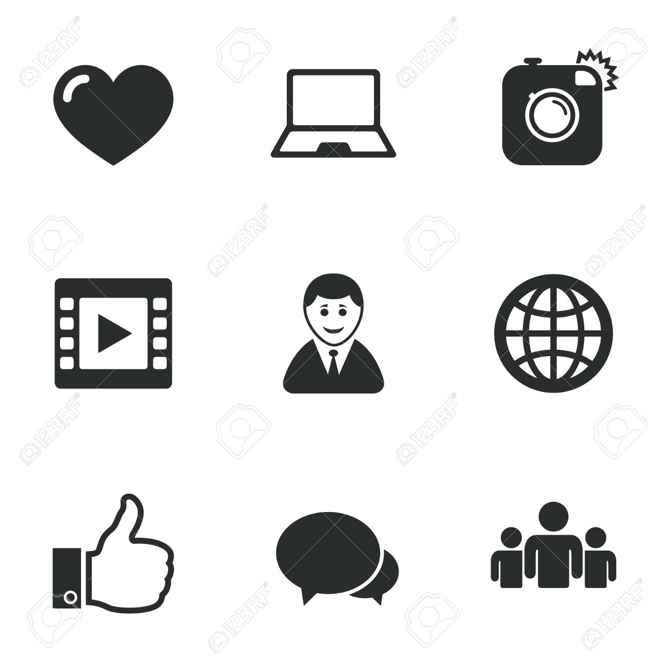 Social media icons video share and chat signs human photo social media icons video share and chat signs human photo camera and buycottarizona Choice Image
