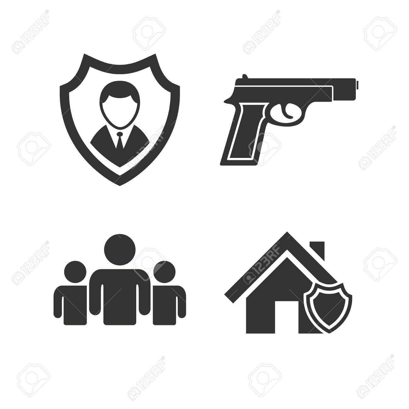 Security agency icons home shield protection symbols gun weapon home shield protection symbols gun weapon sign group of people biocorpaavc