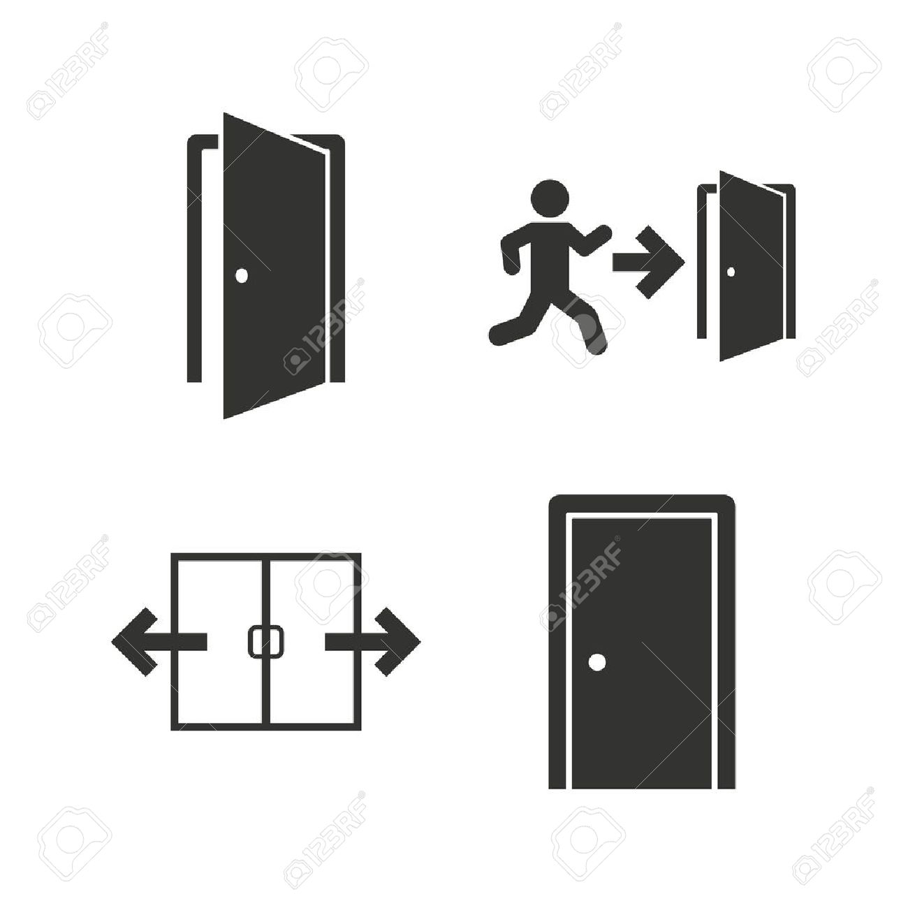 Automatic door icon. Emergency exit with human figure and arrow symbols. Fire exit signs  sc 1 st  123RF Stock Photos & Automatic Door Icon. Emergency Exit With Human Figure And Arrow ... pezcame.com