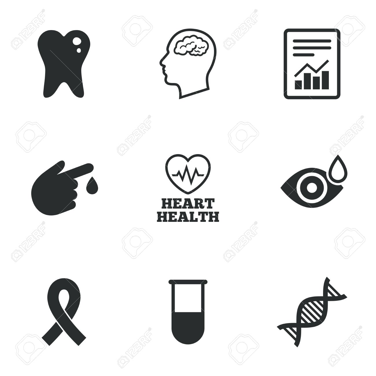 Medicine Medical Health And Diagnosis Icons Blood Test Dna And