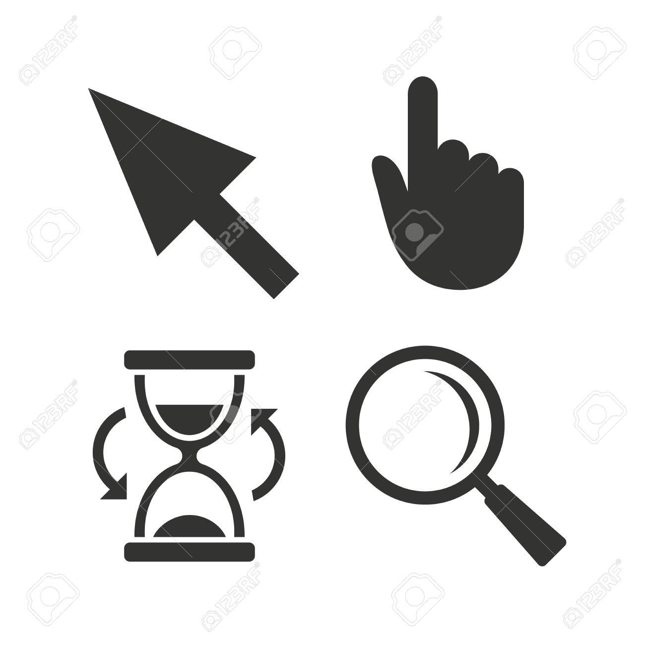 Mouse Cursor And Hand Pointer Icons. Hourglass And Magnifier ...