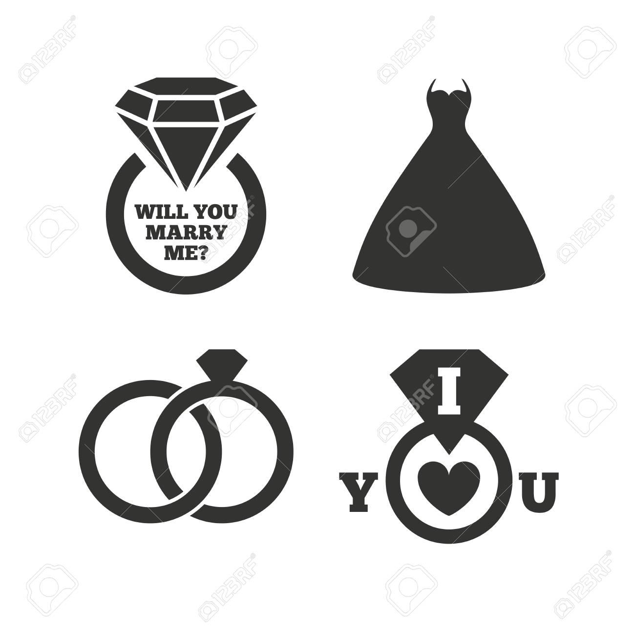 Brautkleid Symbol Braut Und Brautigam Ringe Symbol Hochzeit Oder