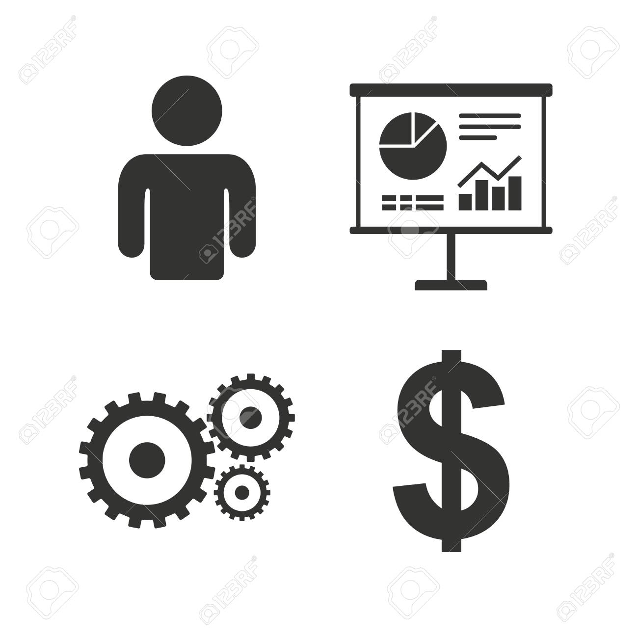Business Icons Human Silhouette And Presentation Board With