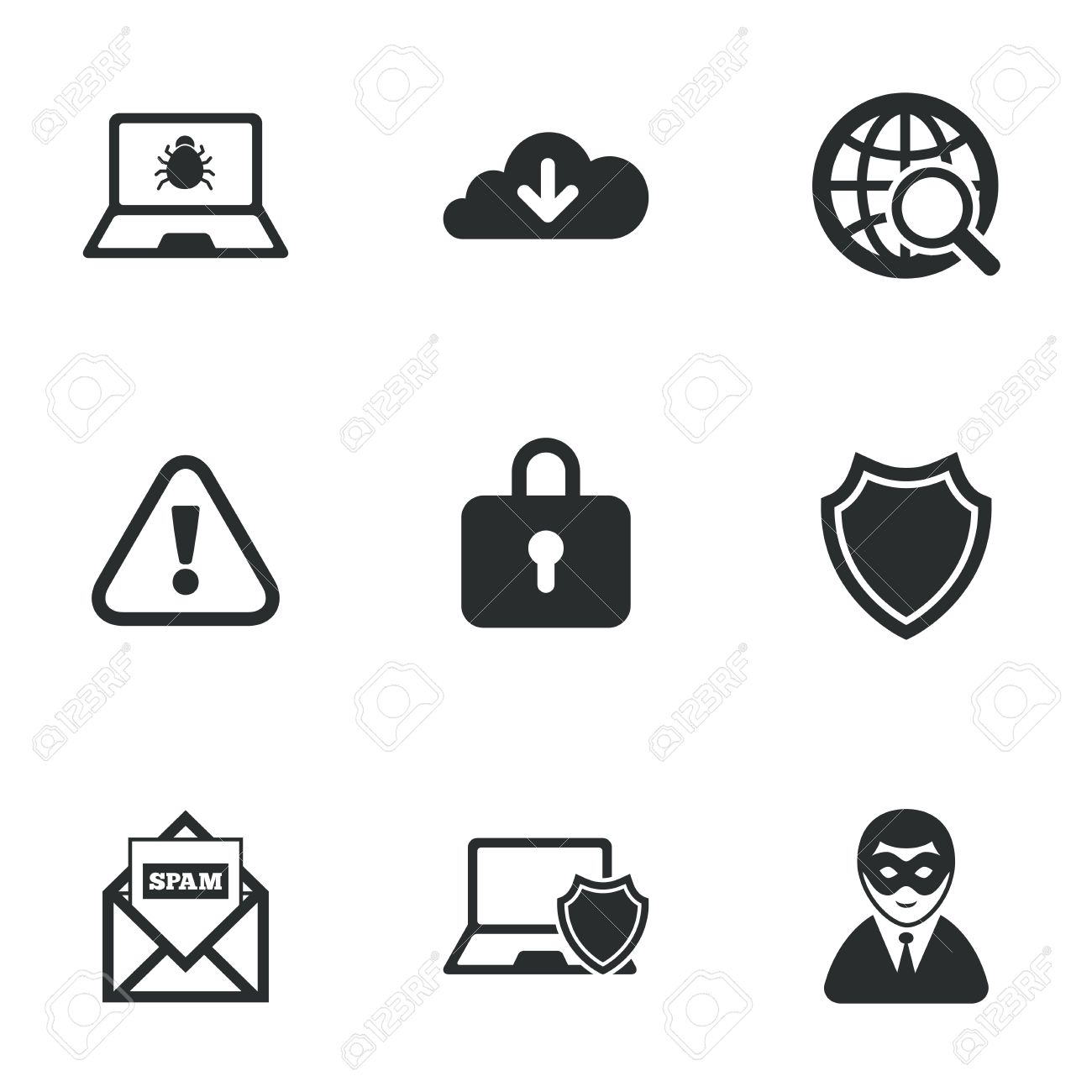 Internet privacy icons cyber crime signs virus spam e mail internet privacy icons cyber crime signs virus spam e mail and anonymous biocorpaavc