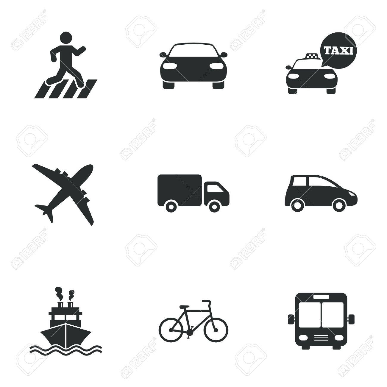 Transport Icons. Auto, Fahrrad, Bus Und Taxi-Zeichen. Versand ...