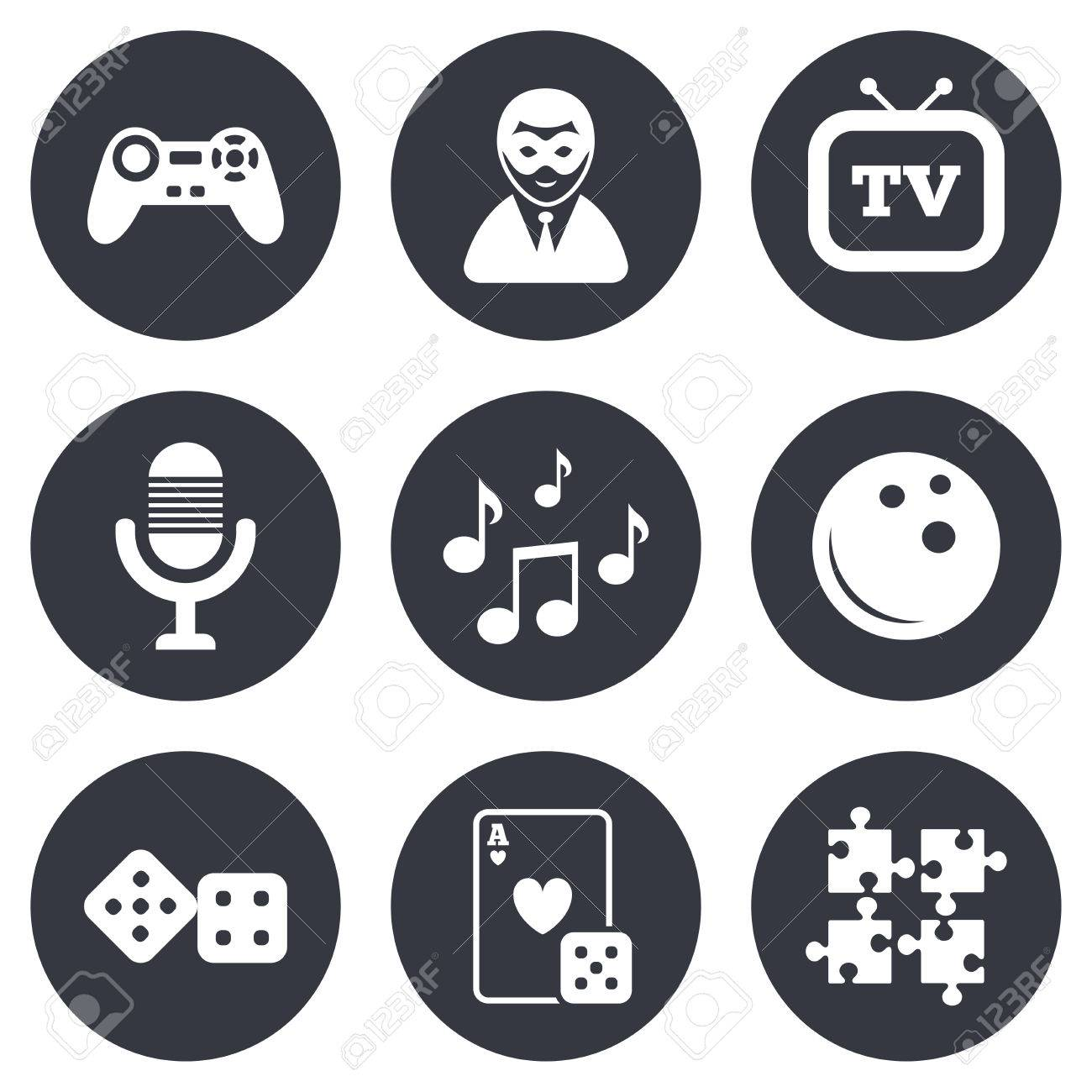 Entertainment Icons Game Bowling And Puzzle Signs Casino