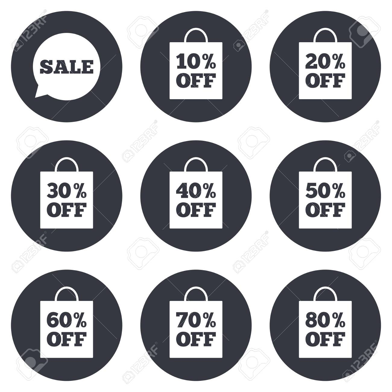 Sale Discounts Icons. Special Offer Signs. Shopping Bag, Price ...