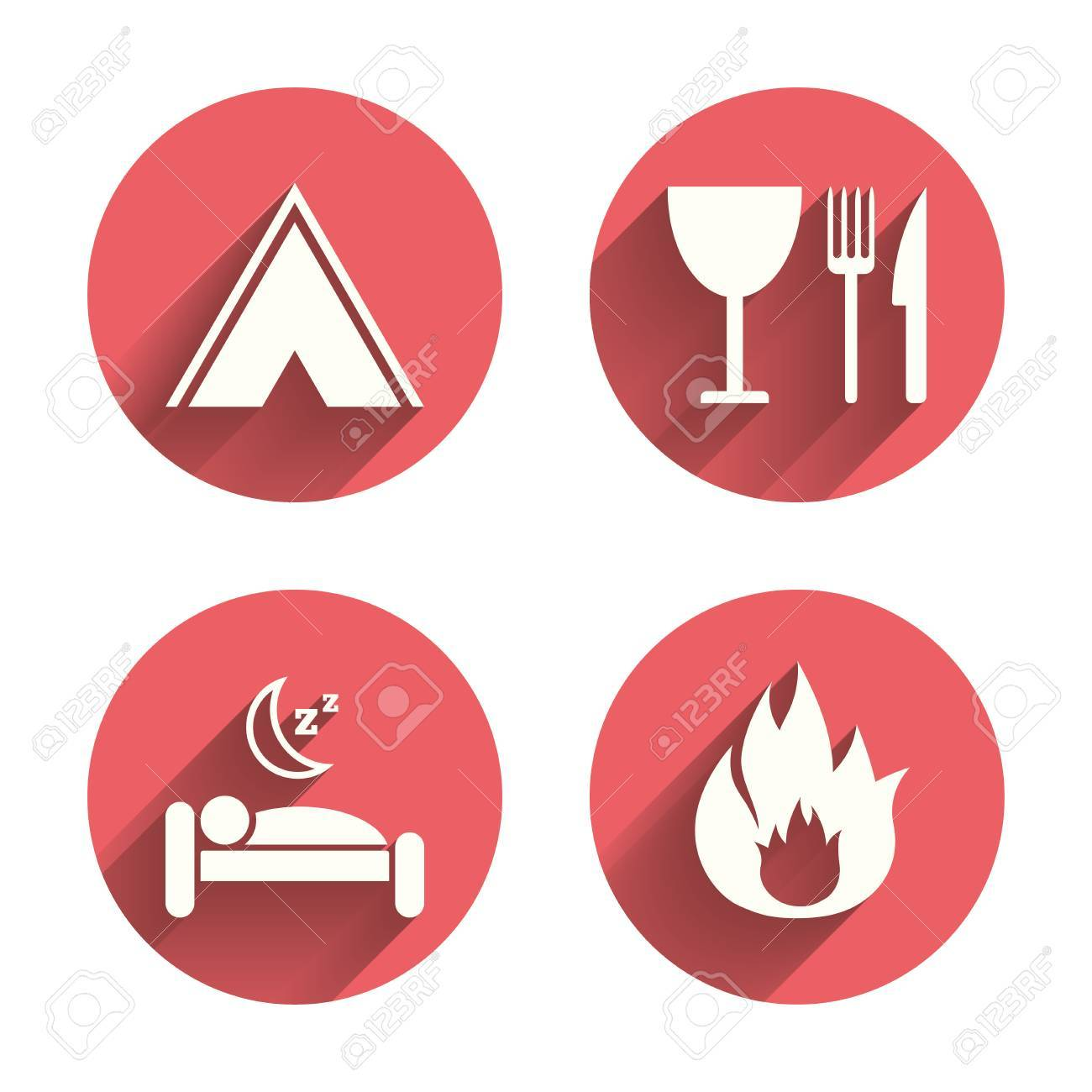 Food sleep c&ing tent and fire icons. Knife fork and wineglass.  sc 1 st  123RF Stock Photos & Food Sleep Camping Tent And Fire Icons. Knife Fork And ...