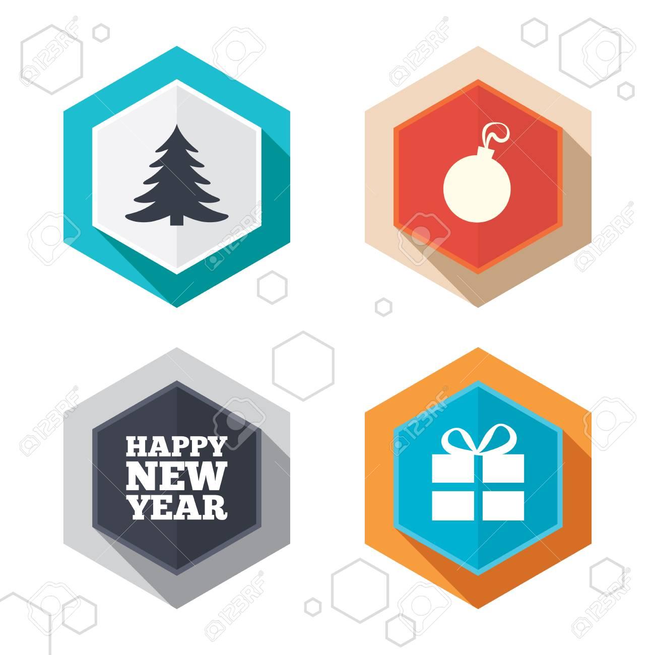 happy new year icon christmas tree and gift box sign symbols