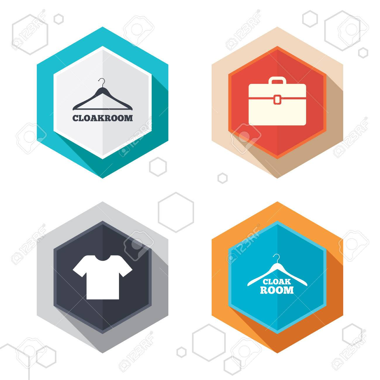 hexagon buttons cloakroom icons hanger wardrobe signs t shirt