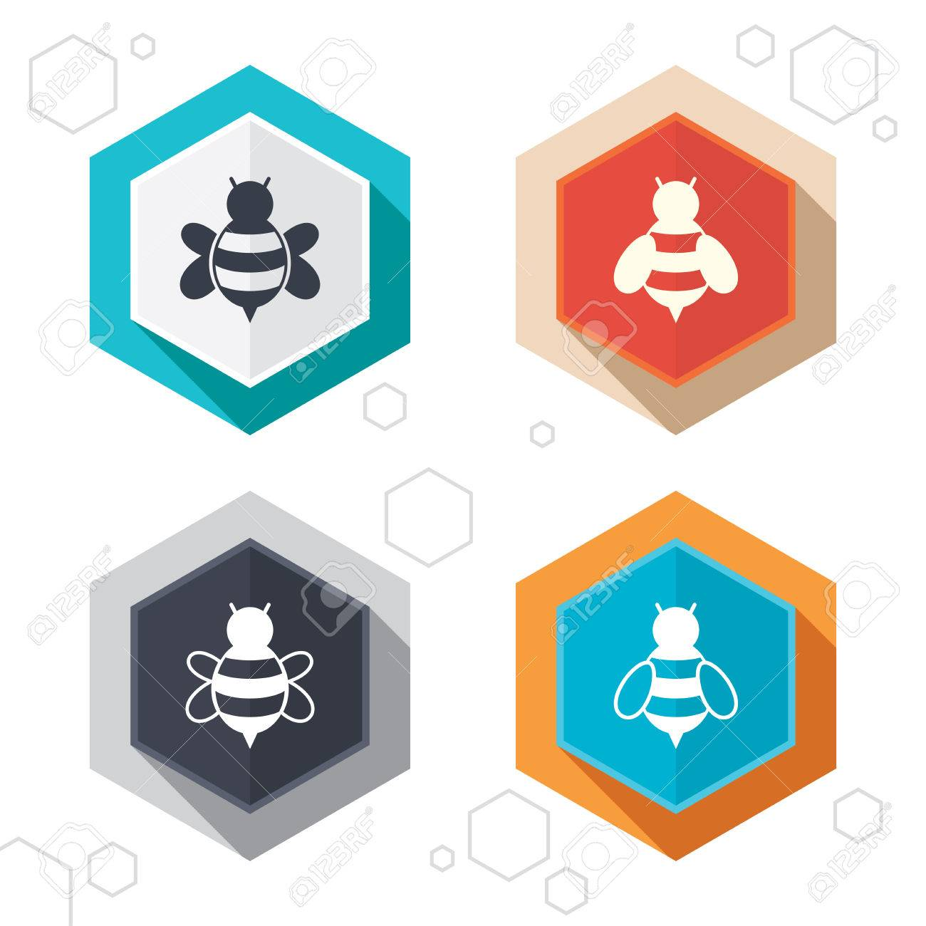 Hexagon buttons honey bees icons bumblebees symbols flying hexagon buttons honey bees icons bumblebees symbols flying insects with sting signs biocorpaavc