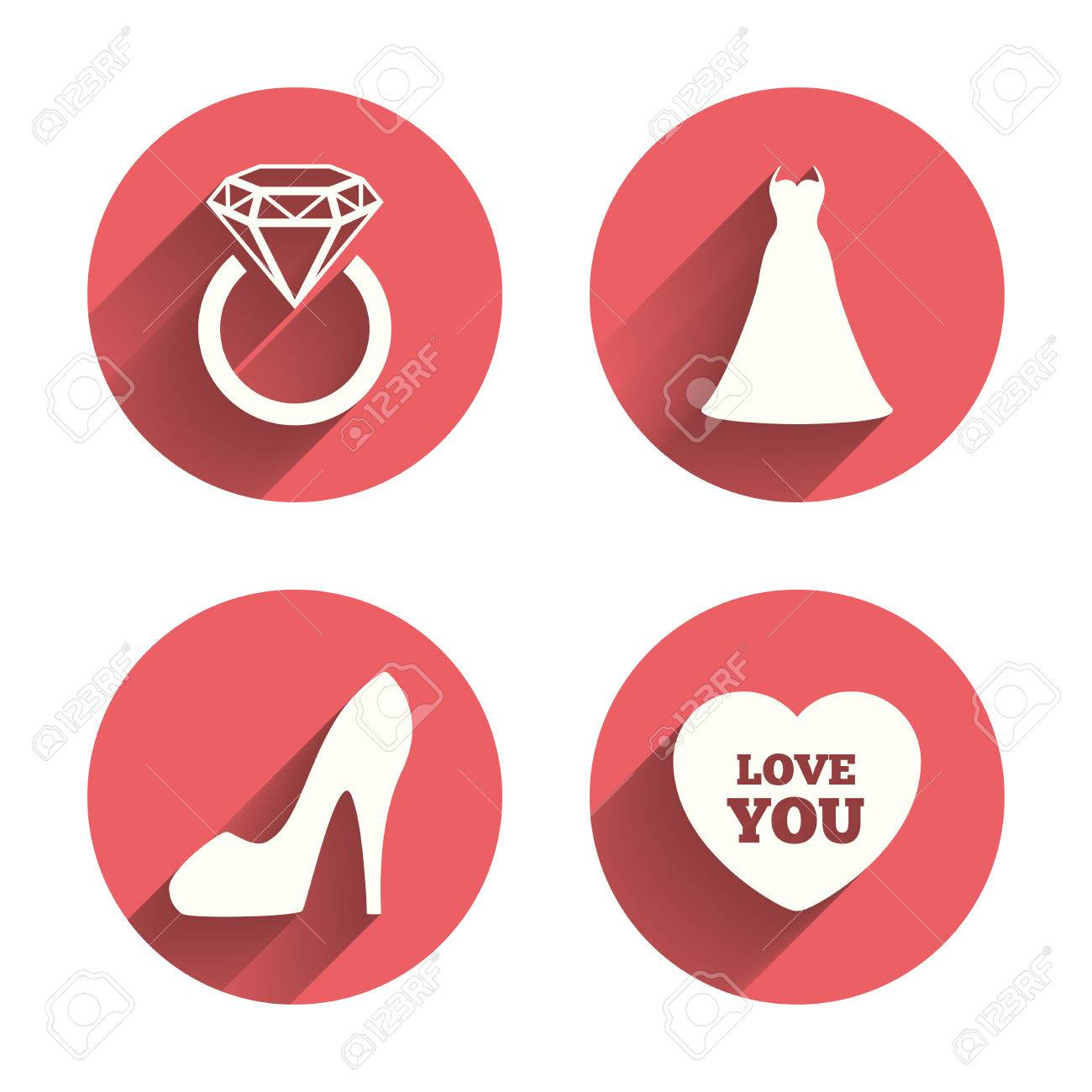 Wedding Dress Icon Womens Shoe And Love Heart Symbols Wedding