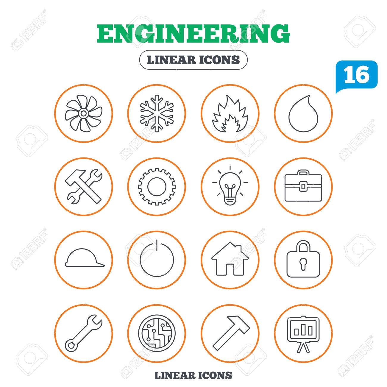 Engineering Icons Ventilation Heat And Air Conditioning Symbols
