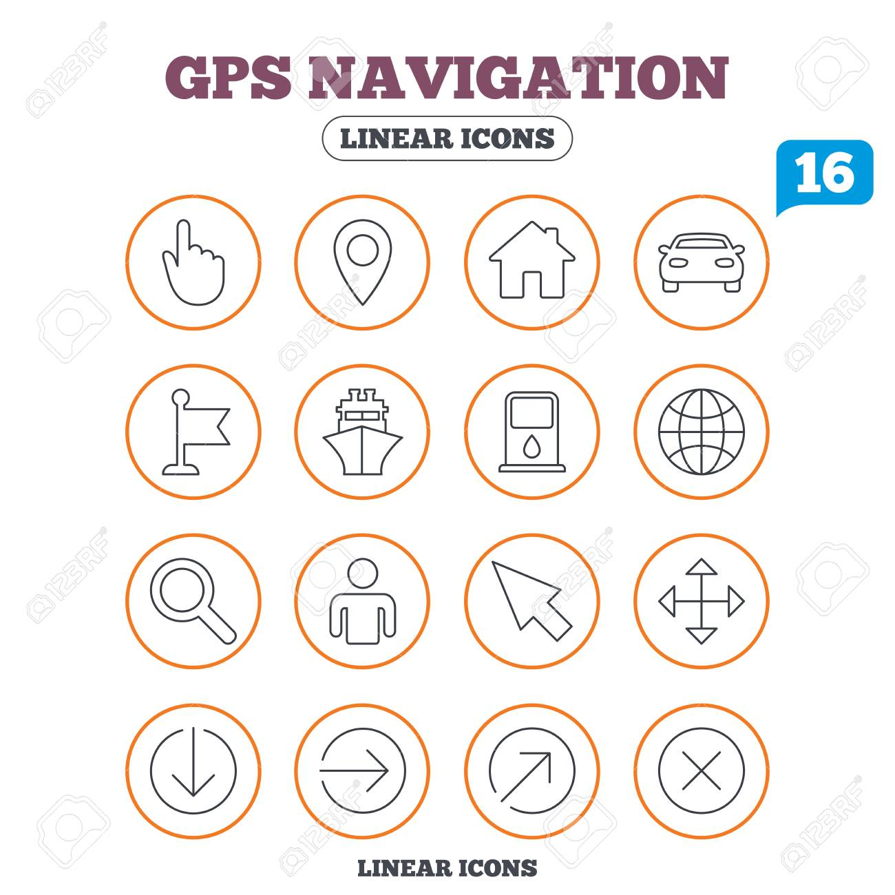 Gps Navigation Icons Car And Ship Transport You Are Here Map