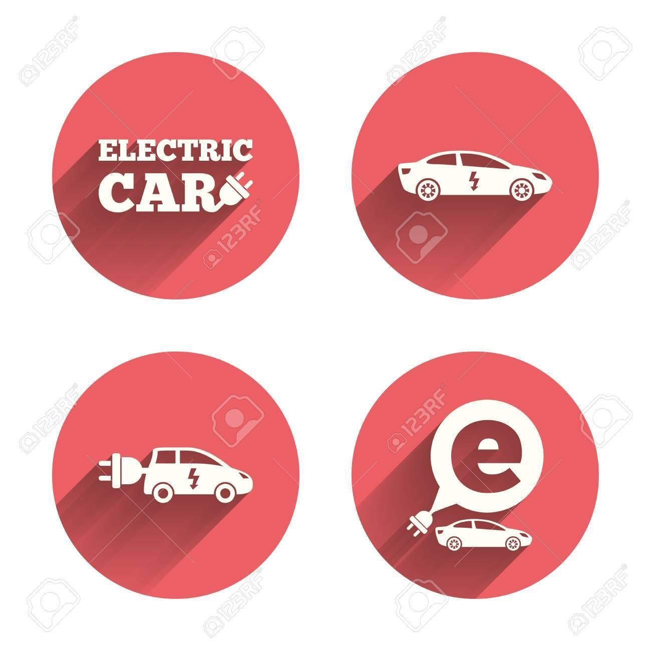 Electric Car Icons Sedan And Hatchback Transport Symbols Eco