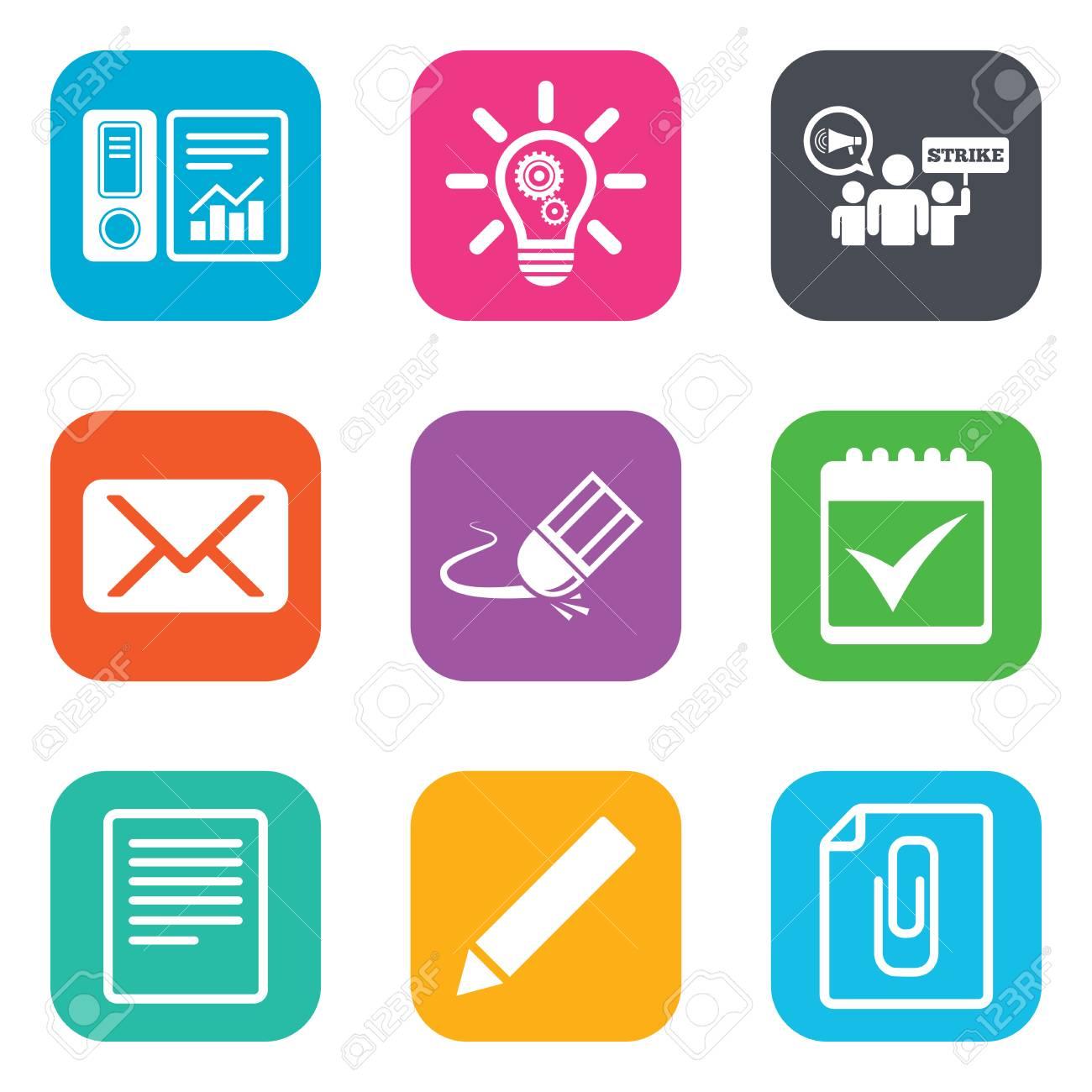 Calendario Segni.Office Documenti E Icone Del Mondo Contabilita Sciopero E Del Calendario Segni Mail Idee E Simboli Statistiche Piatti Pulsanti Quadrati Vettore