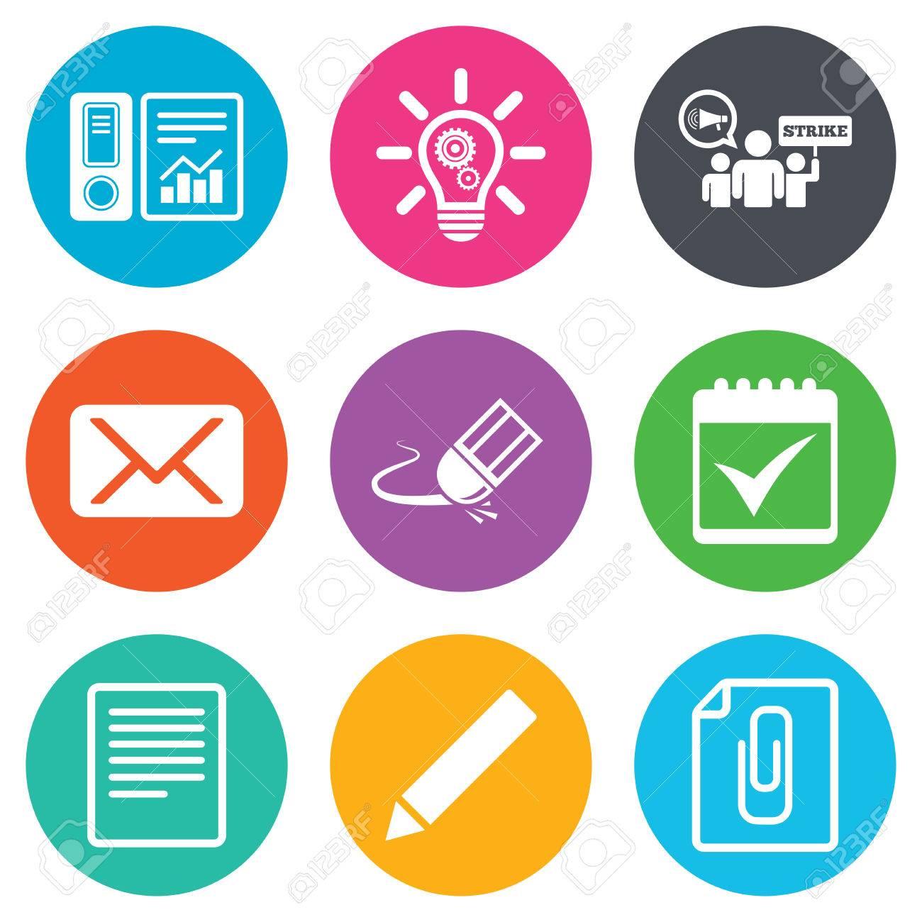 Office, documenti e icone del mondo  Contabilità, sciopero e del calendario  segni  Mail, idee e simboli statistiche  Piatti cerchio pulsanti  Vettore