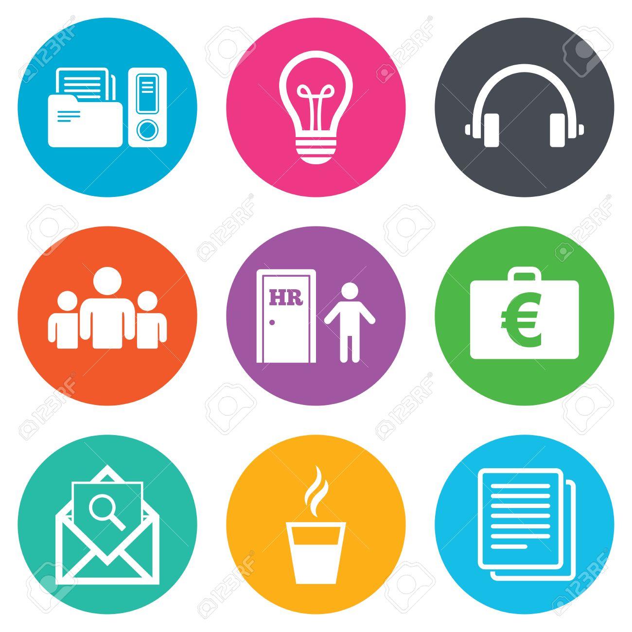 Office, documenti e icone del mondo  Contabilità, risorse umane e di gruppo  segni  Servizio postale, Idea e casi soldi simboli  pulsanti cerchio