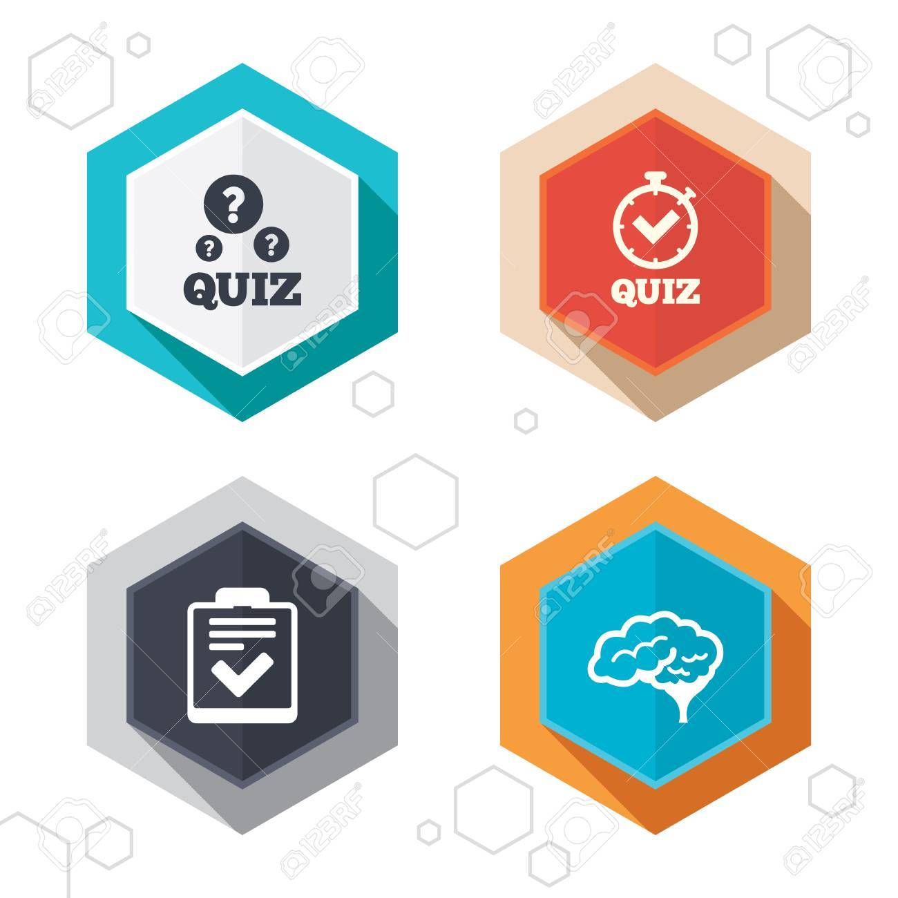 Hexagon Buttons. Quiz Icons. Human Brain Think. Checklist And ...