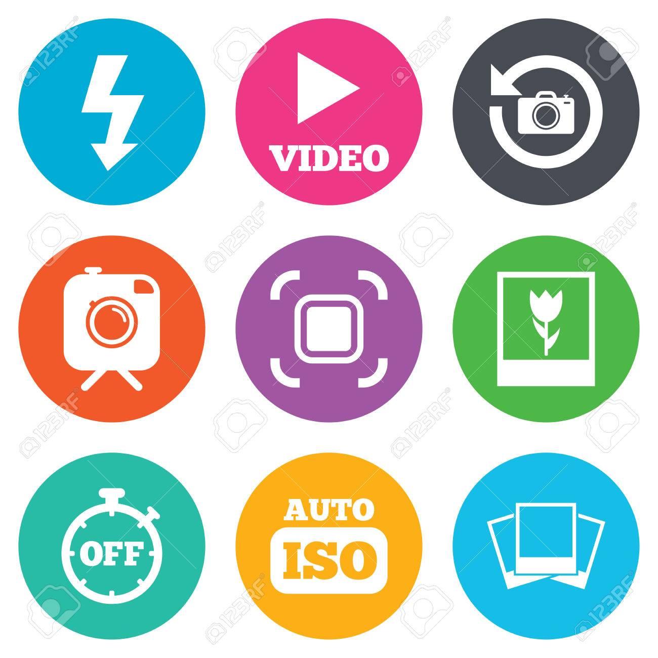 Foto, Video-Icons. Kamera, Fotos Und Rahmenzeichen. Blitz, Timer Und ...
