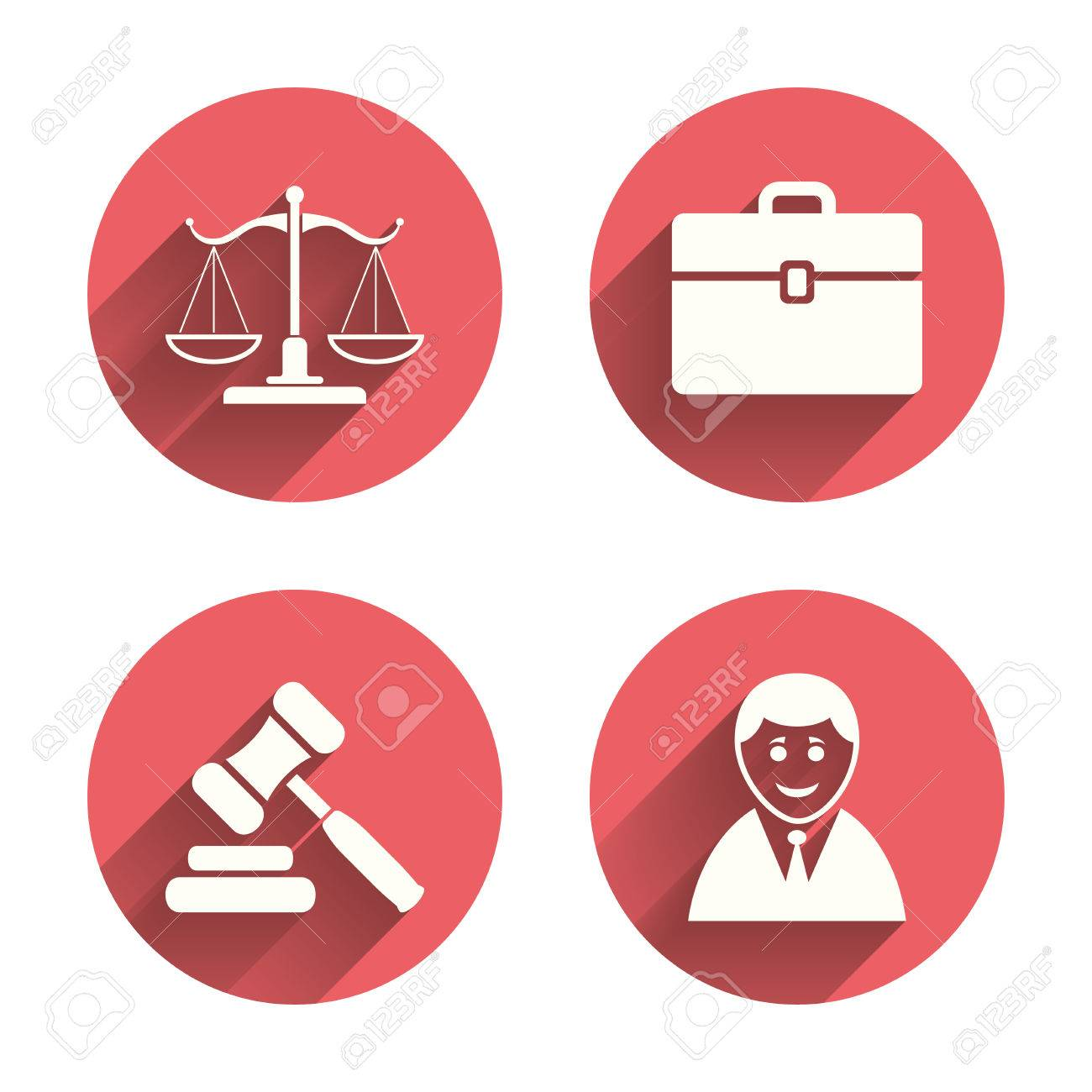 Scales Of Justice Icon Client Or Lawyer Symbol Auction Hammer