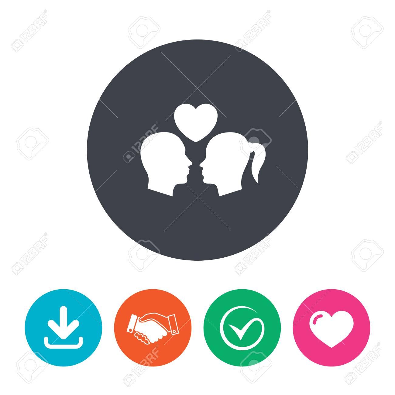 Icône De Signe De Couple Mâle Amour Femelle Amoureux Avec Coeur Télécharger La Flèche La Poignée De Main La Tique Et Le C Ur Boutons De Cercle