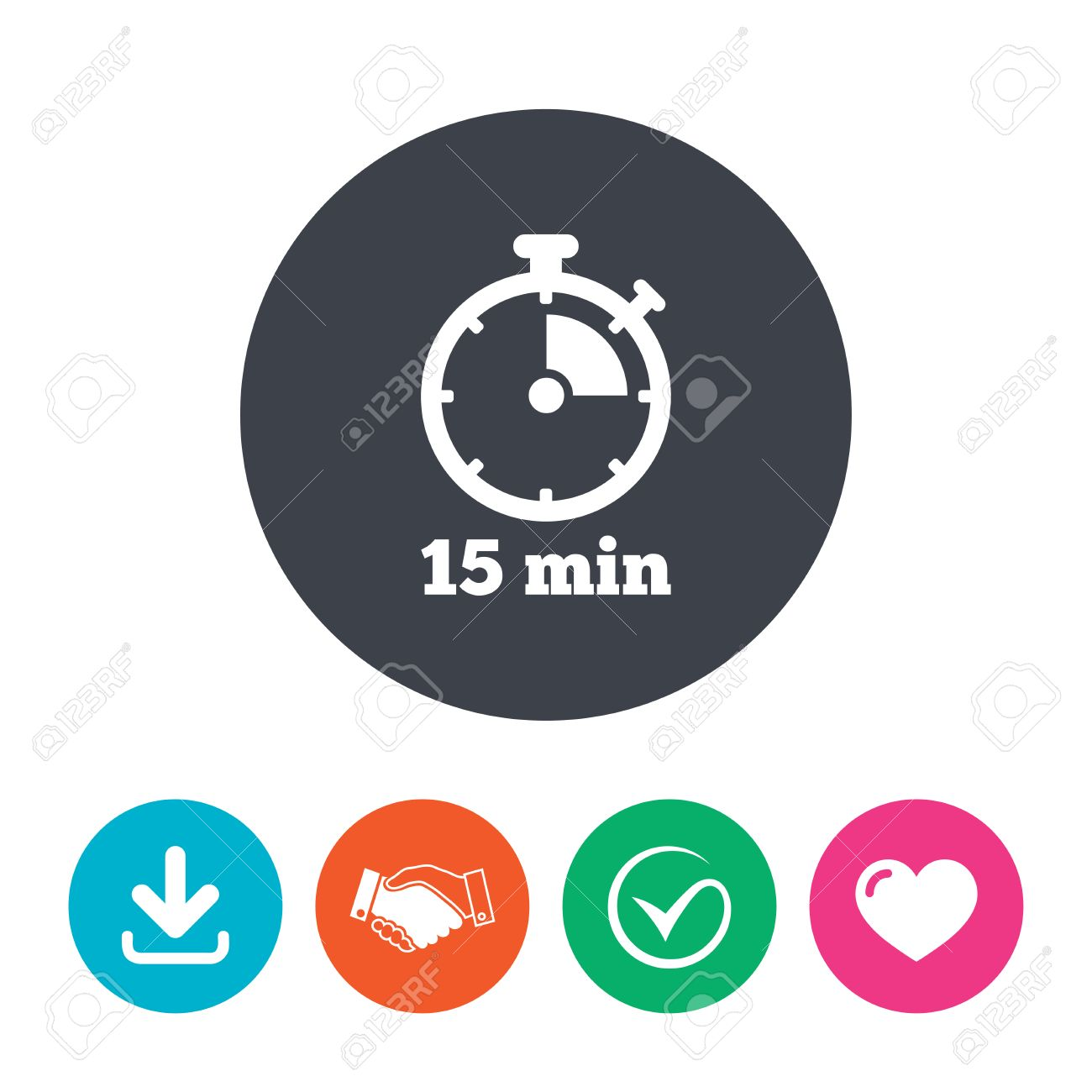 Timer sign icon  15 minutes stopwatch symbol  Download arrow,
