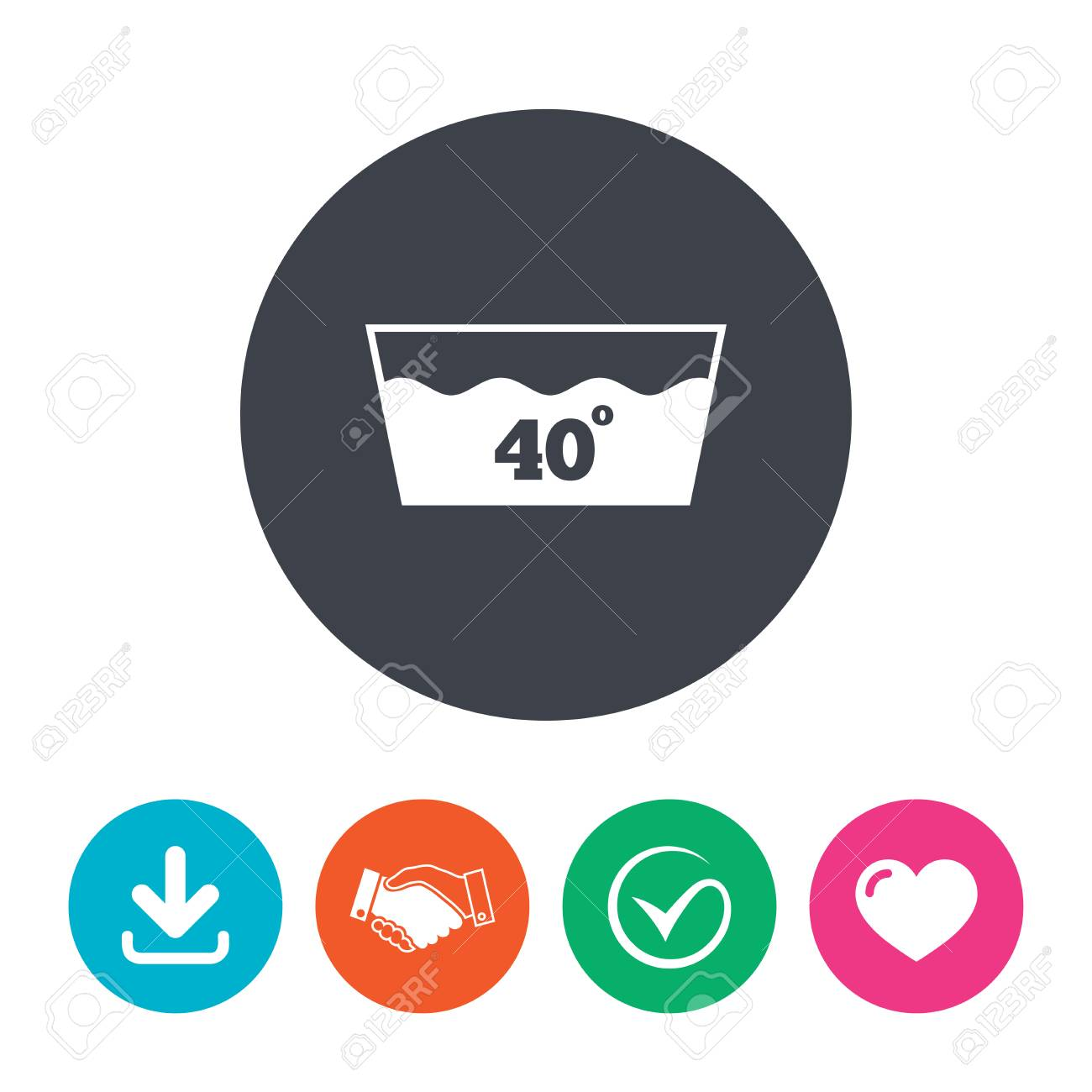 Wash Icon Machine Washable At 40 Degrees Symbol Download Arrow