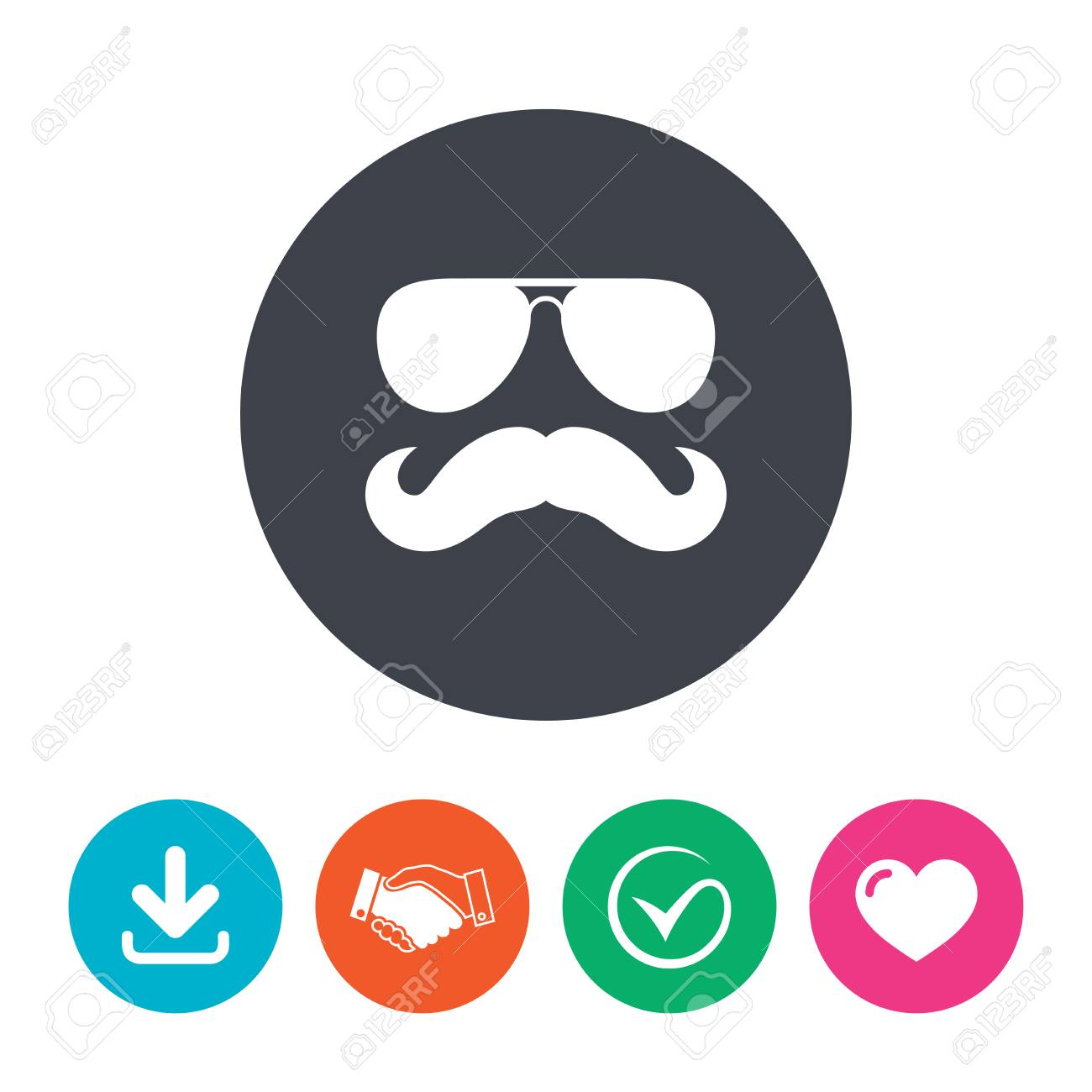 Mustache And Sunglasses Sign Icon Hipster Symbol Download Arrow