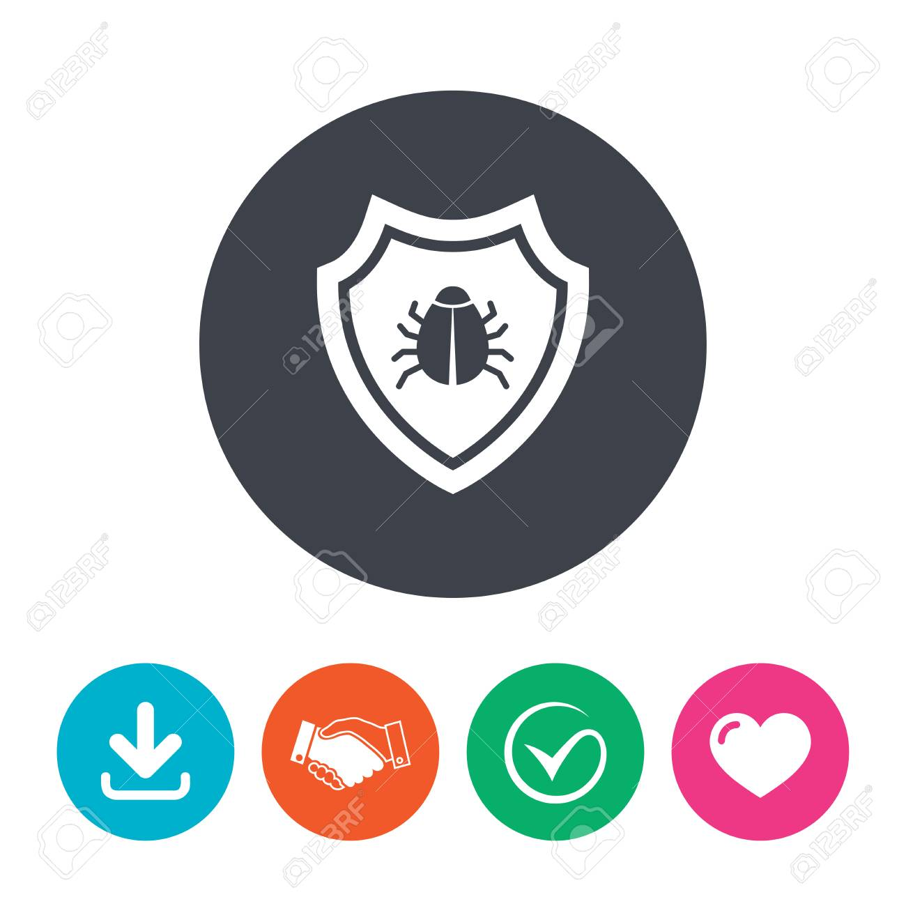 Shield sign icon  Virus protection symbol  Bug symbol  Download