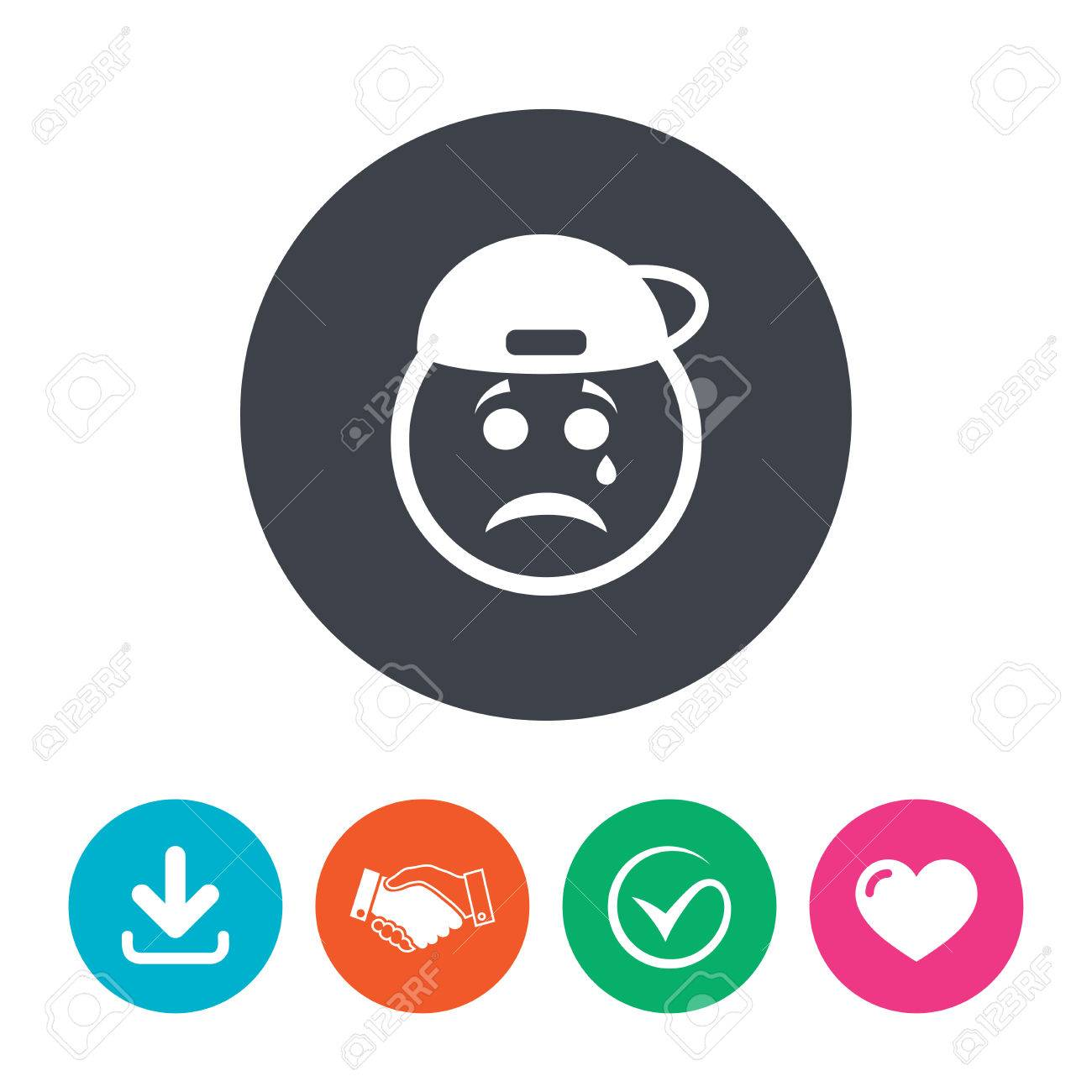 Sad Rapper Face With Tear Sign Icon. Crying Chat Symbol. Download ... for Sad Stickers For Facebook Chat  143gtk