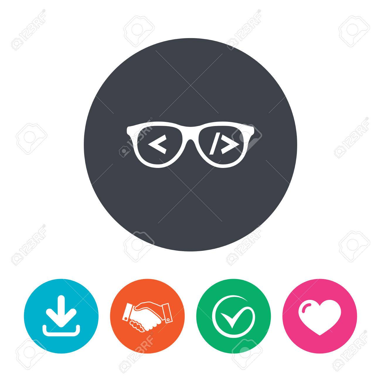 Coder Sign Icon Programmer Symbol Glasses Icon Download Arrow
